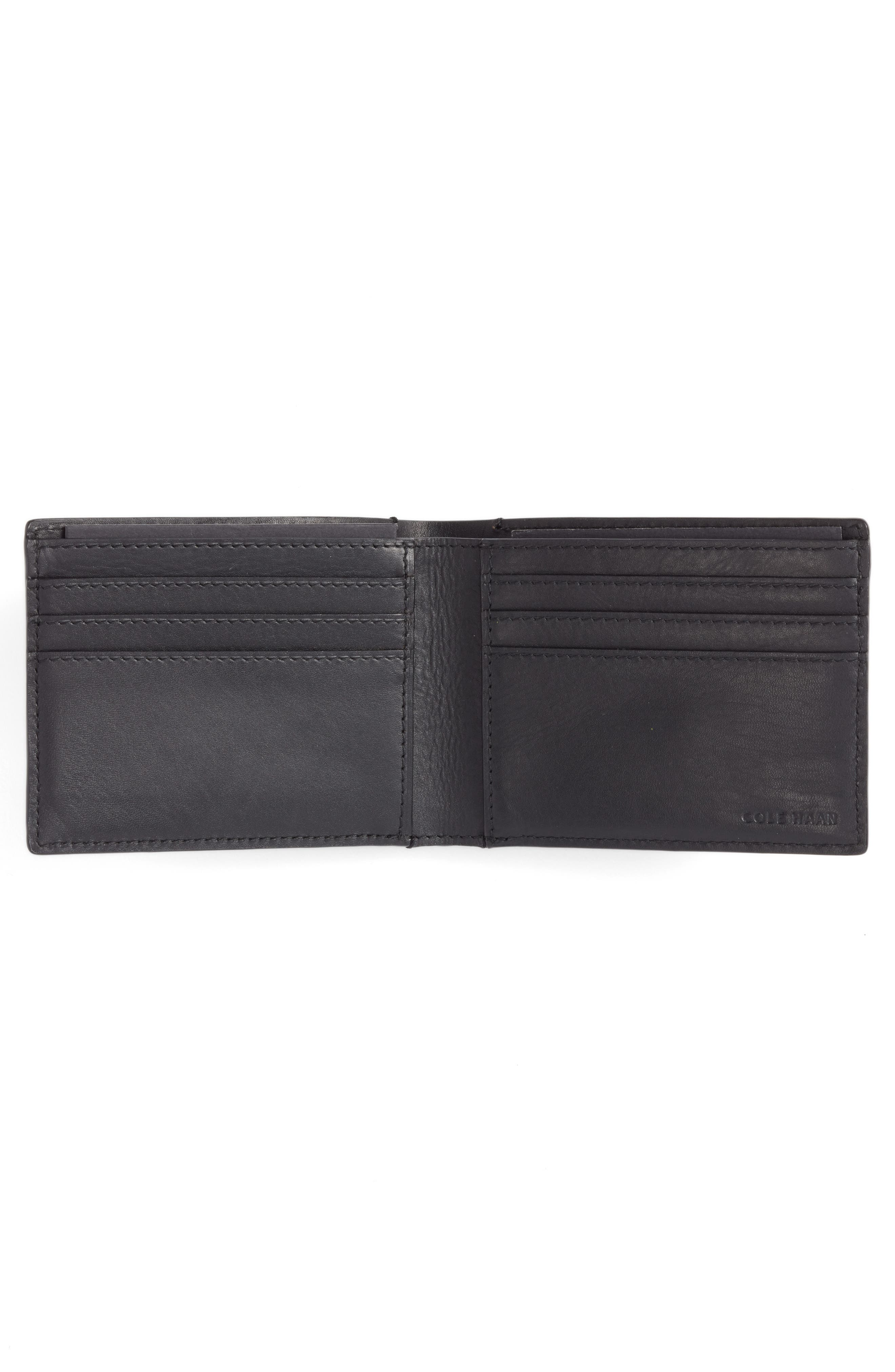 Bifold Leather Wallet with Pass Case,                             Alternate thumbnail 2, color,                             Black