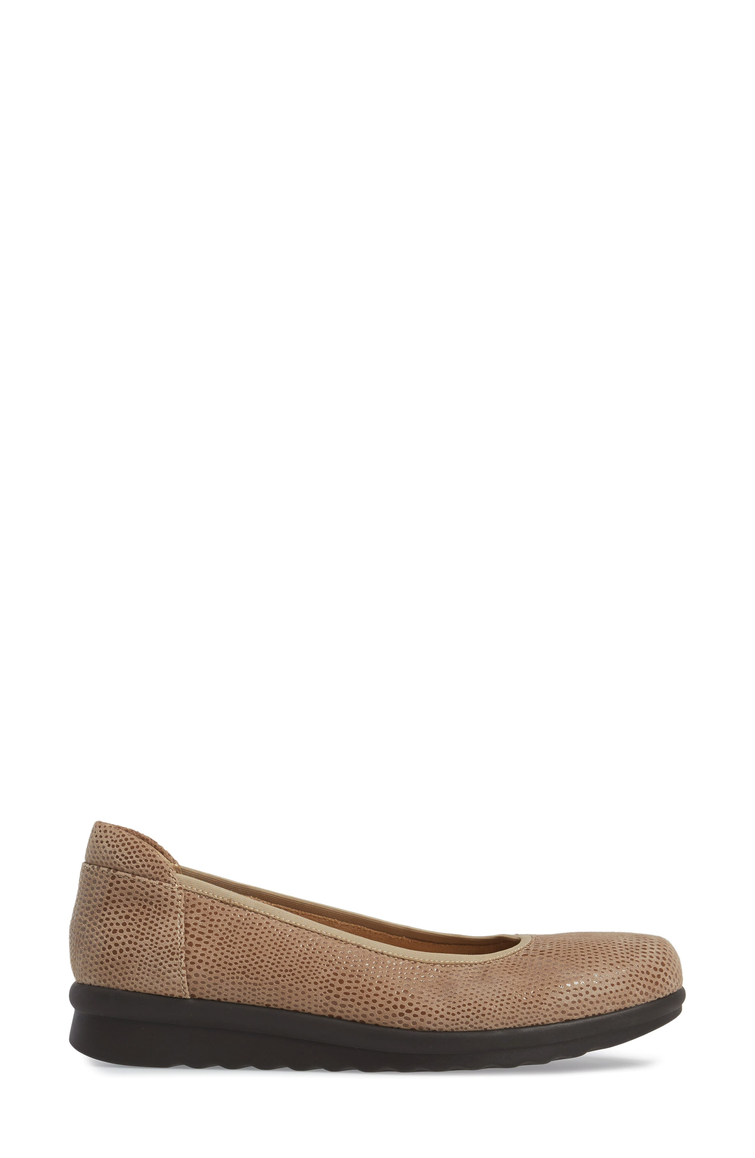 Donia Flat,                             Alternate thumbnail 3, color,                             Taupe Print Fabric