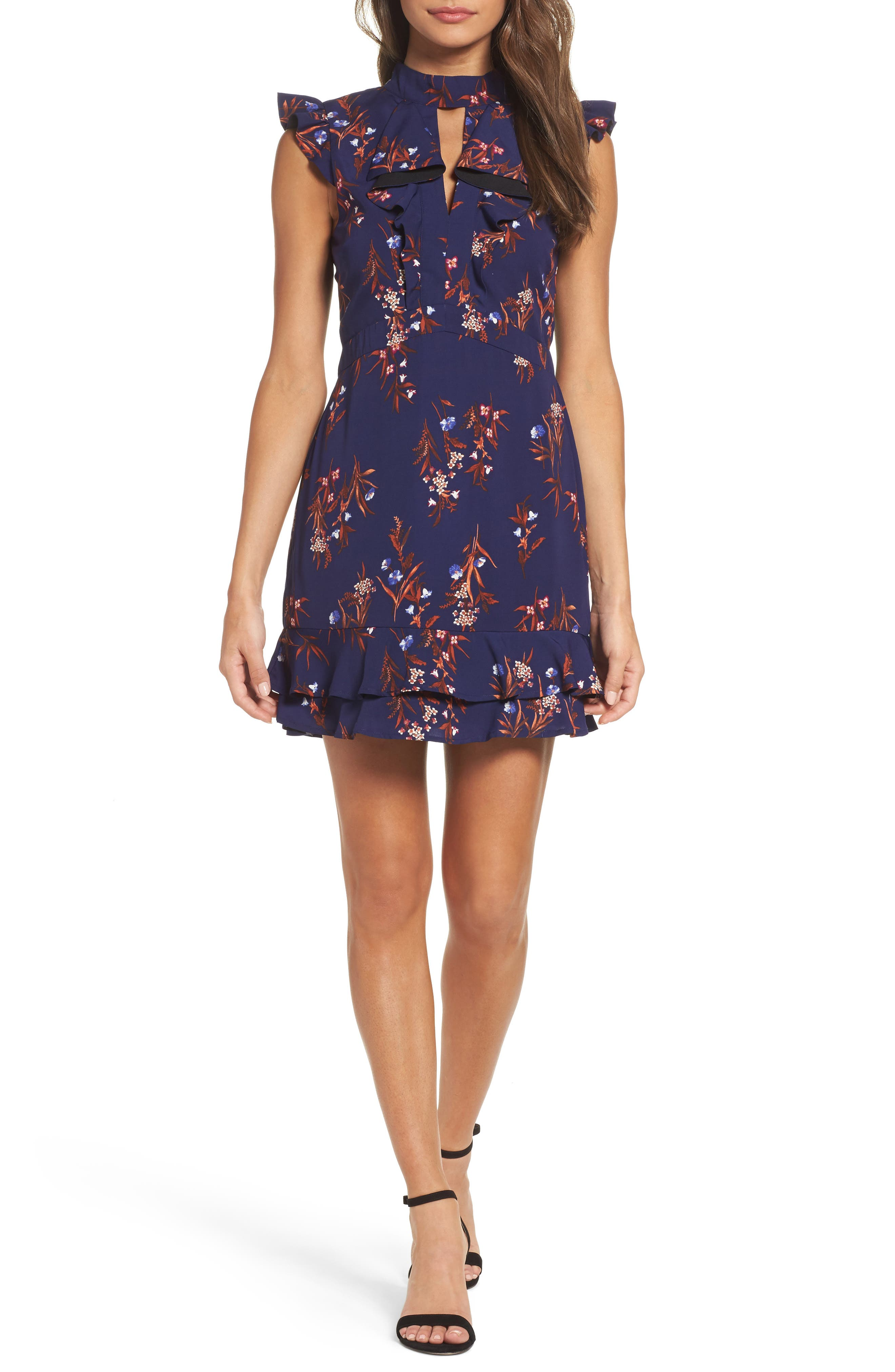 Phoebe Ruffle Fit & Flare Dress,                         Main,                         color, Midnight/ Rust