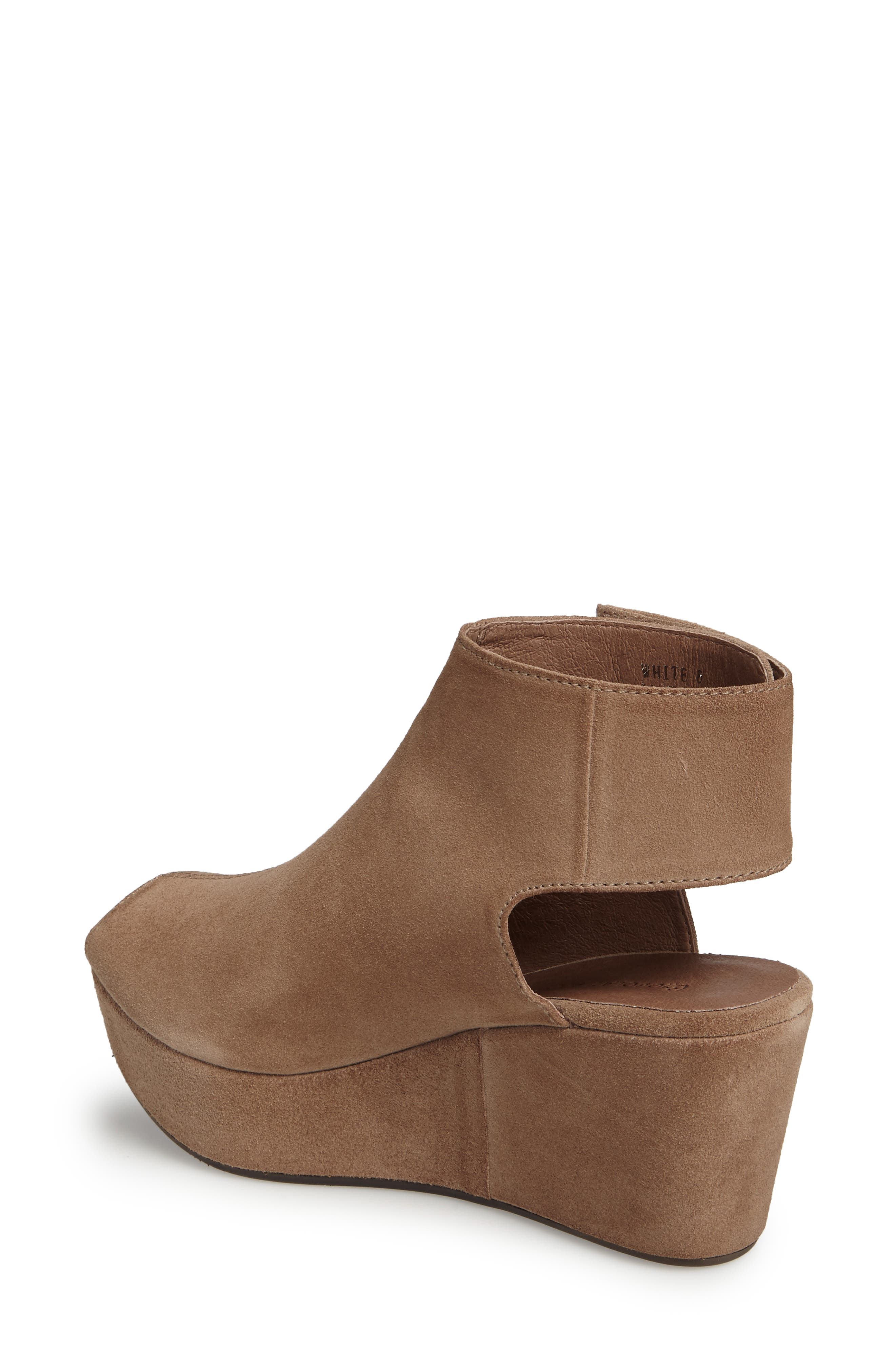 Cutout Wedge Sandal,                             Alternate thumbnail 2, color,                             Taupe Suede