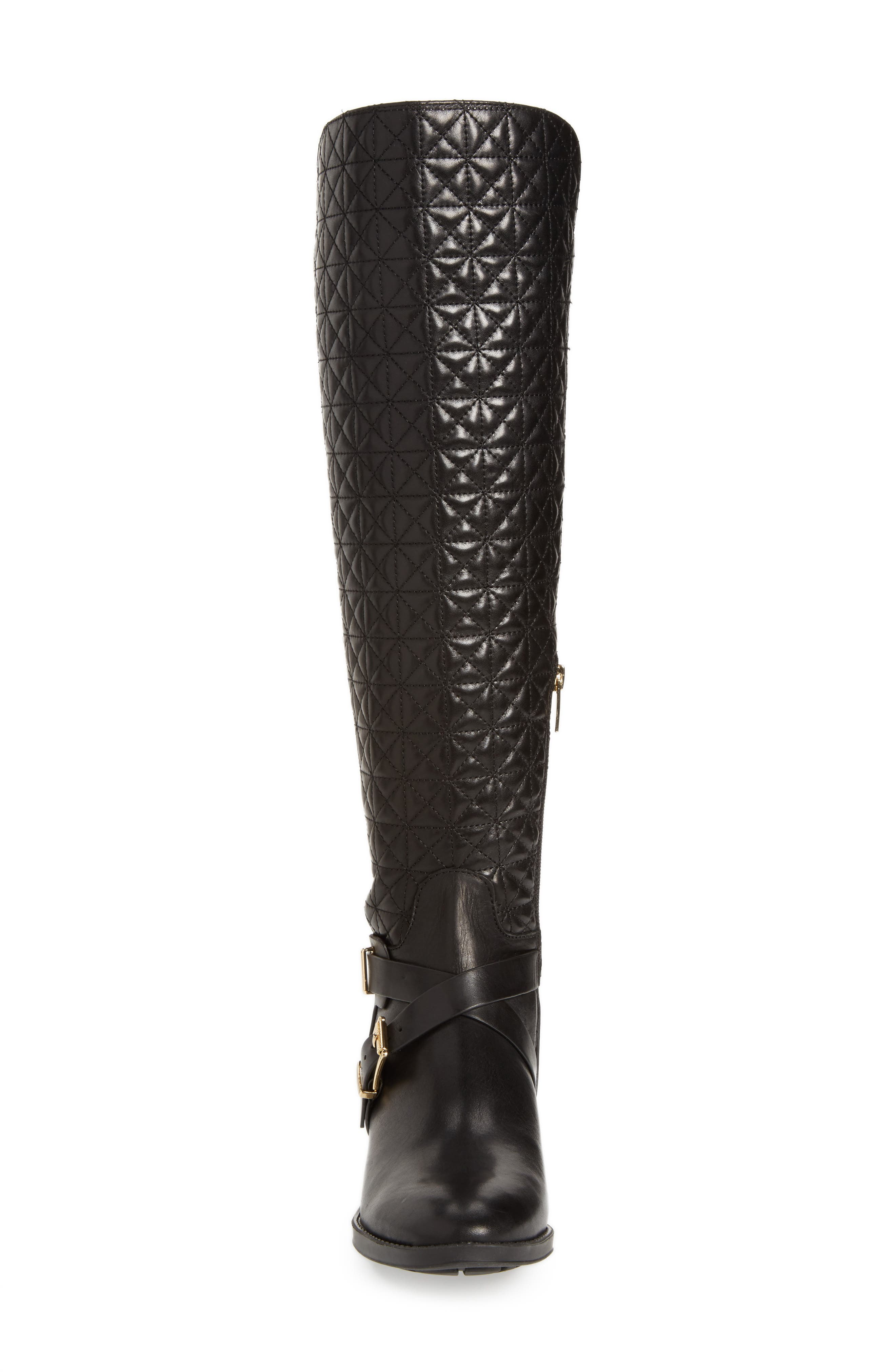 Patira Over the Knee Boot,                             Alternate thumbnail 4, color,                             Black Leather Wide Calf