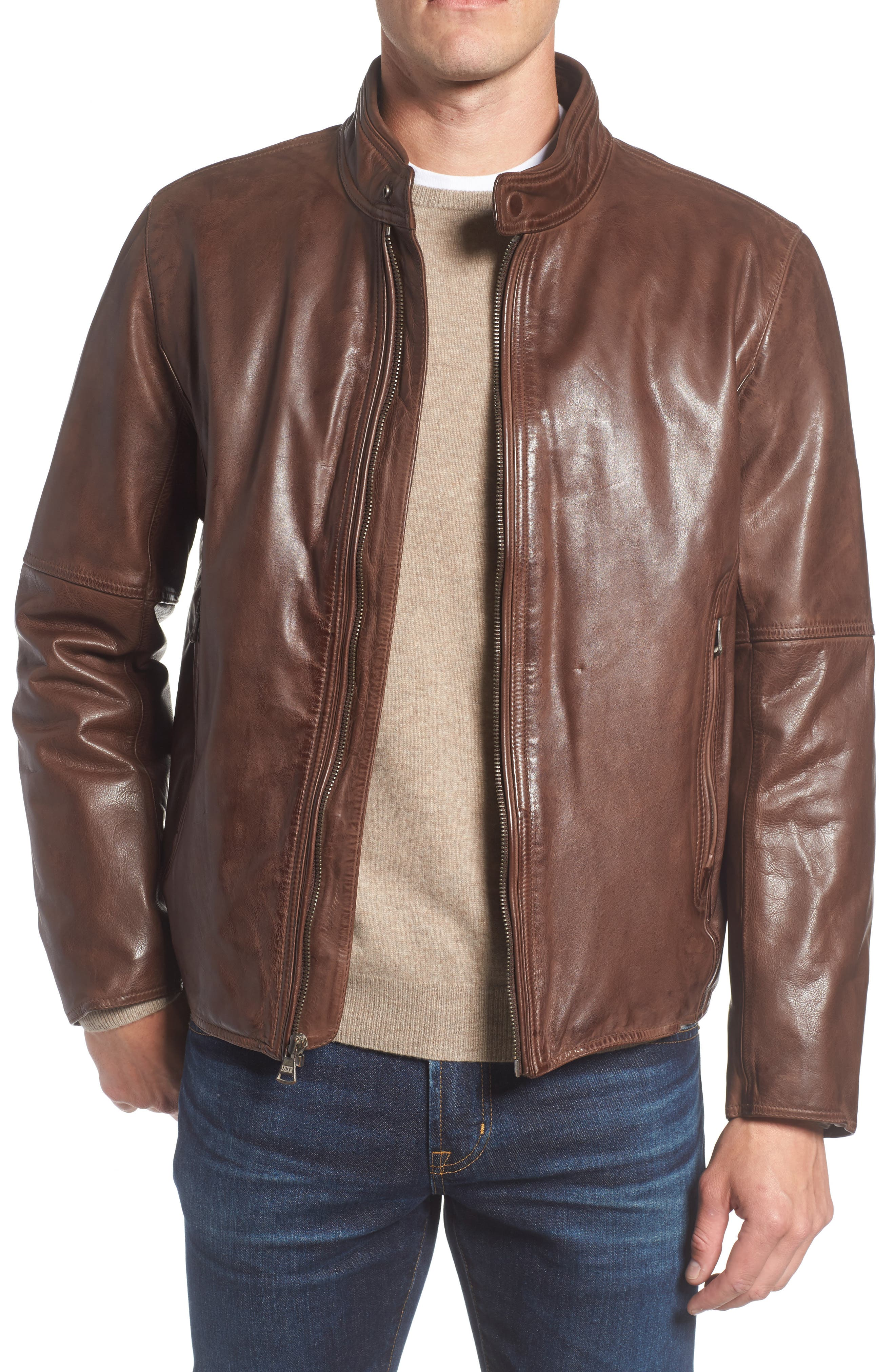 MARC NEW YORK Calfskin Leather Moto Jacket