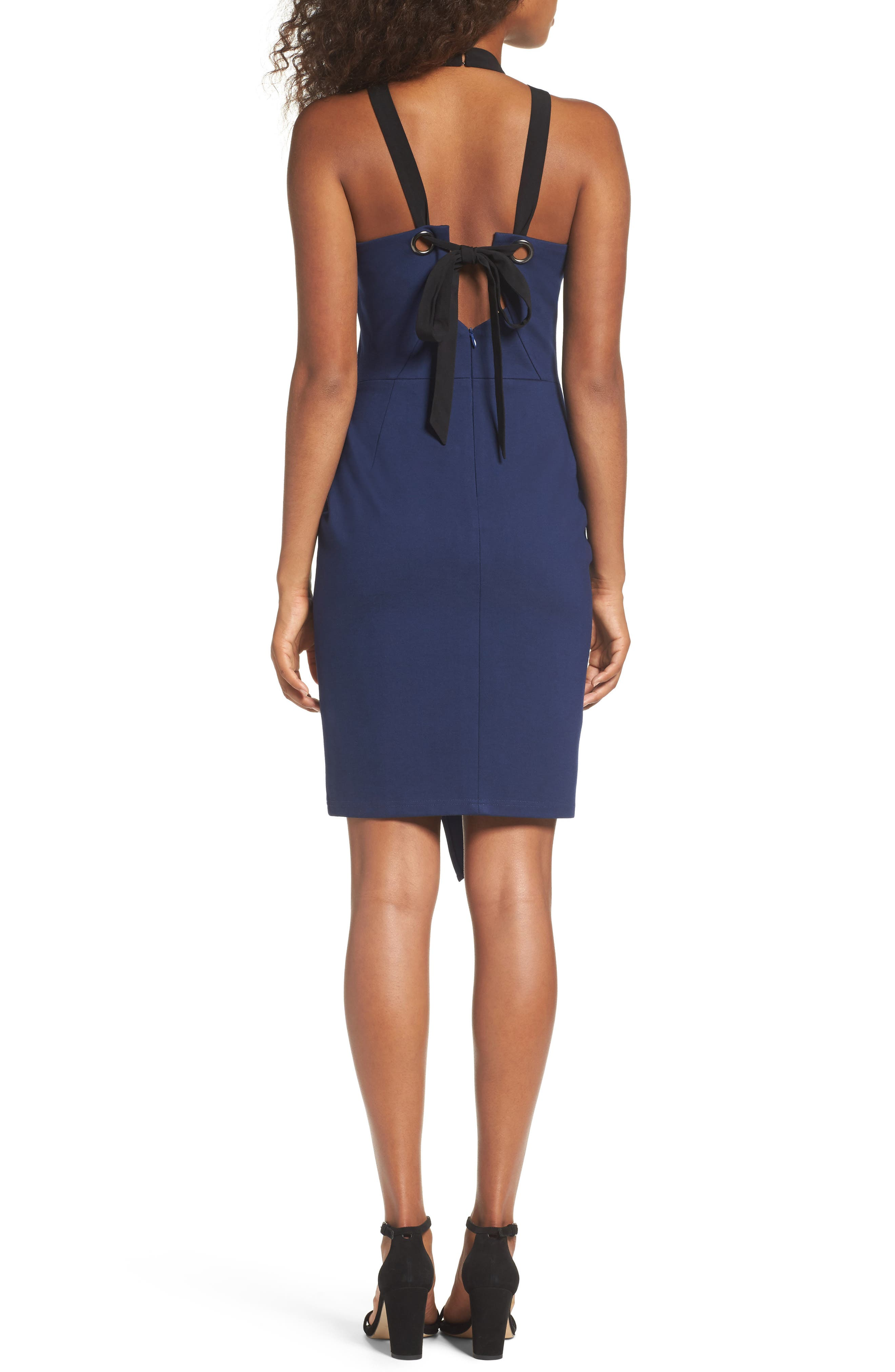 Brandi Tie Back Sheath Dress,                             Alternate thumbnail 2, color,                             Navy