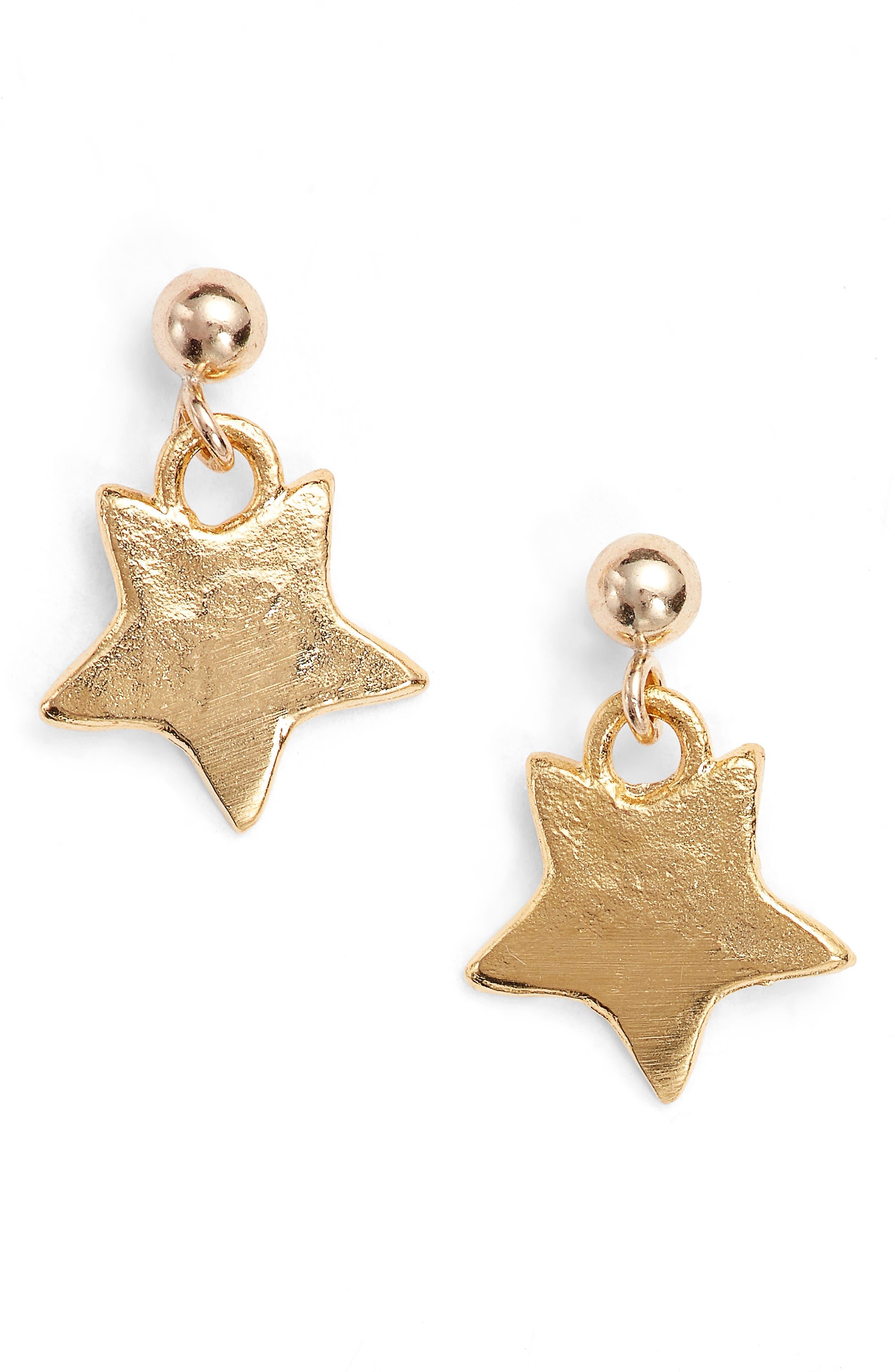 Mini Star Drop Earrings,                             Main thumbnail 1, color,                             Gold