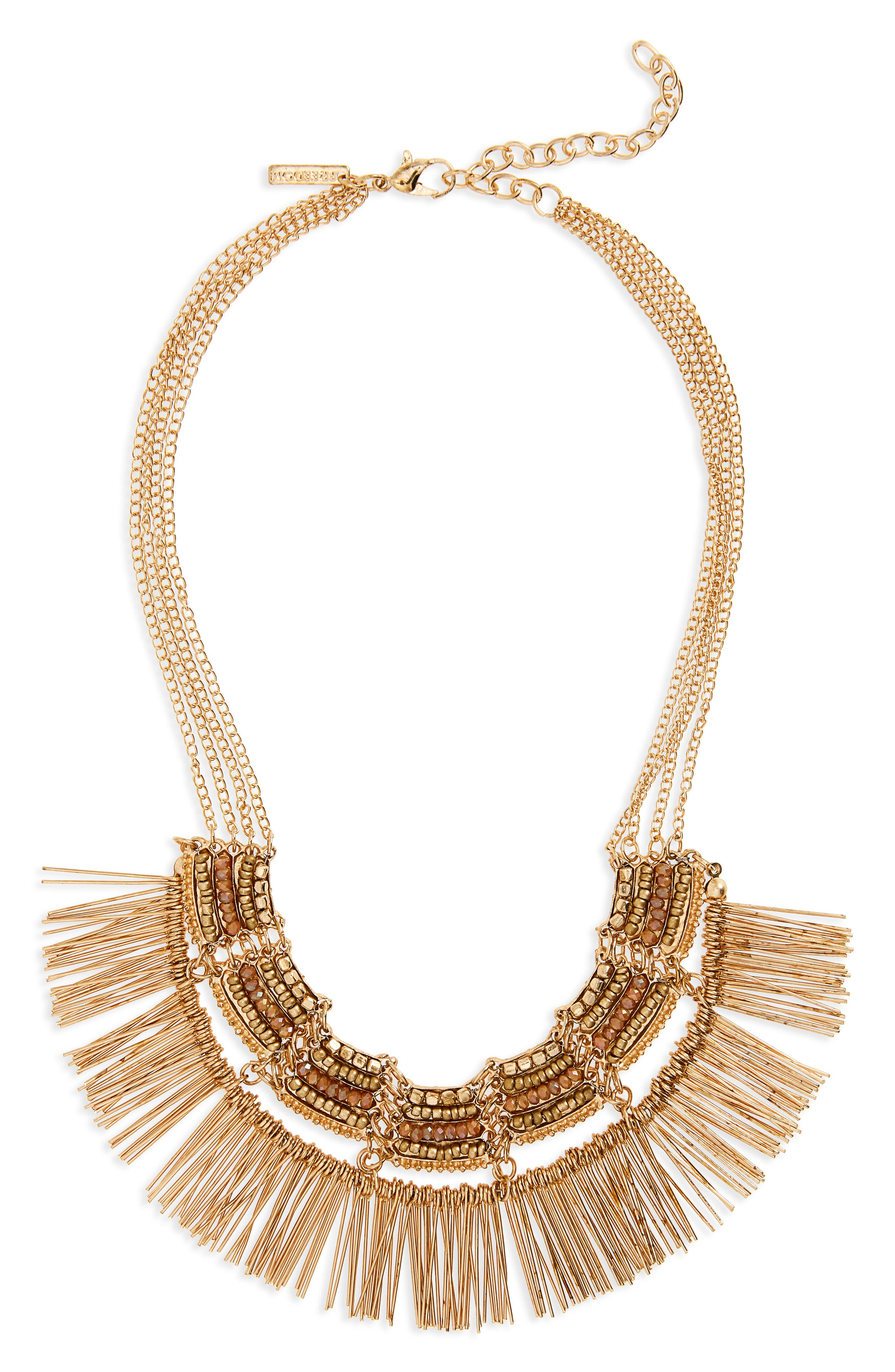 Topshop Beaded Fringe Collar Necklace