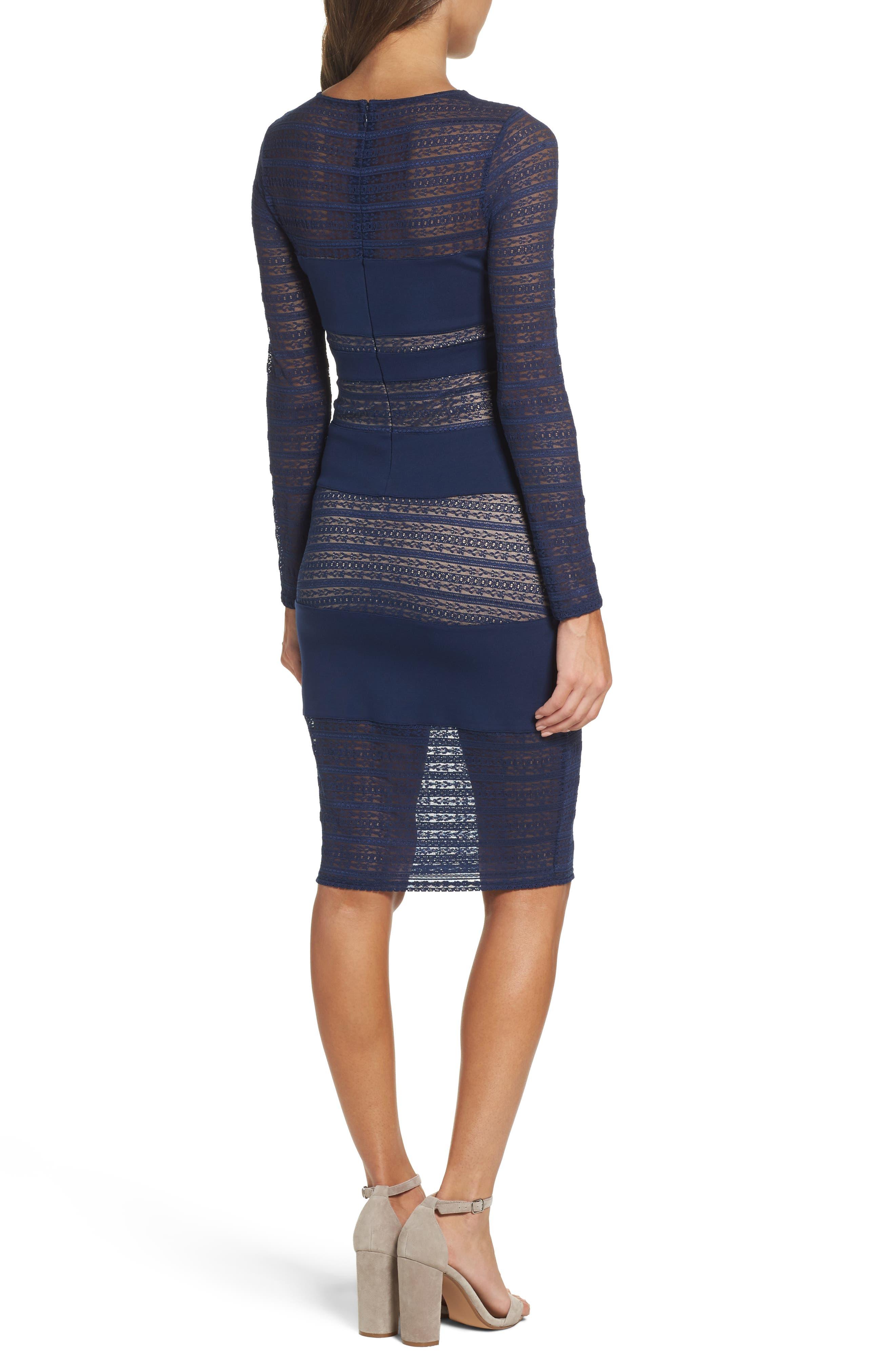 Lovestruck Stripe Body-Con Dress,                             Alternate thumbnail 3, color,                             Navy