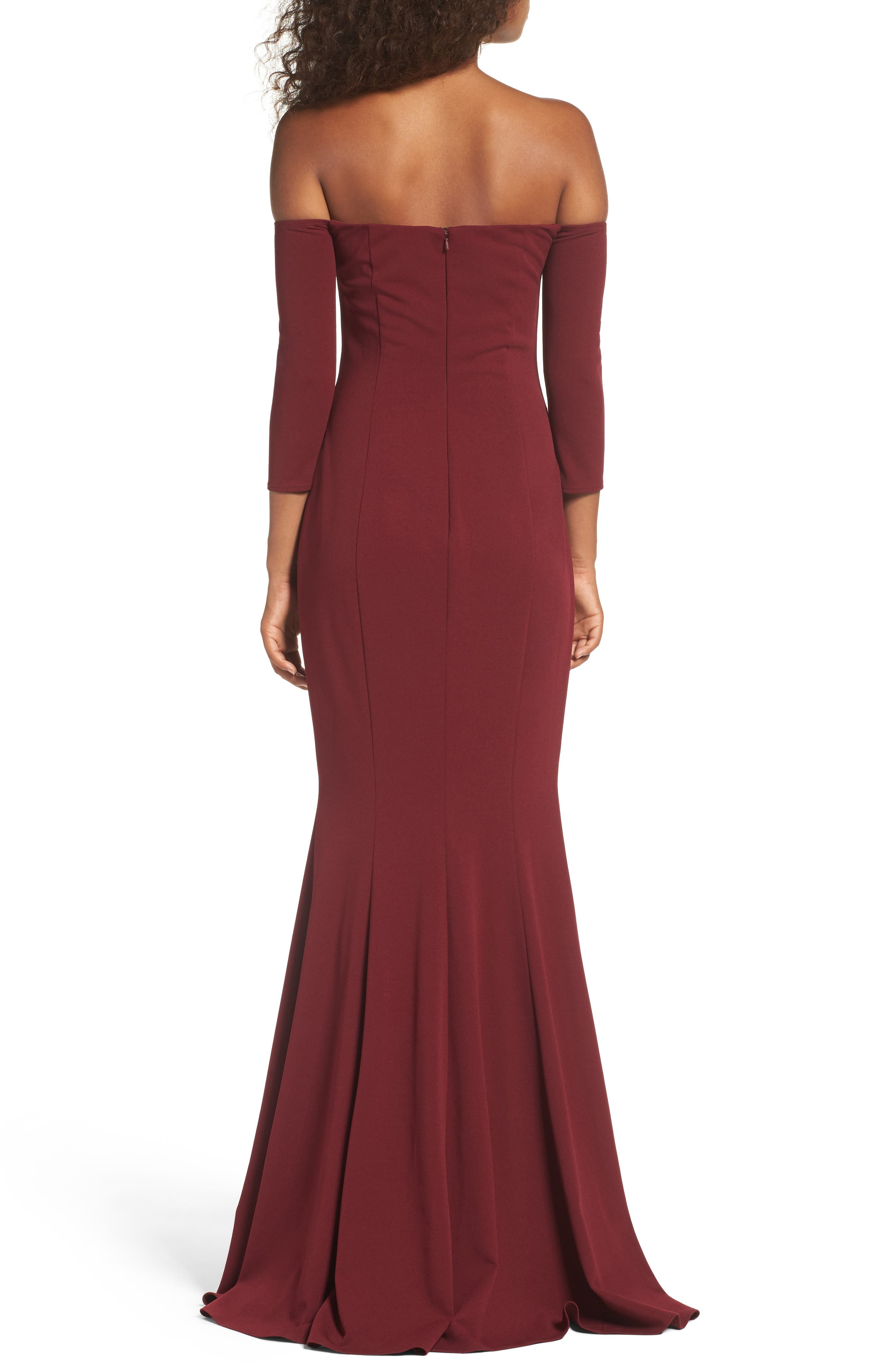 Brentwood Three-Quarter Sleeve Off the Shoulder Gown,                             Alternate thumbnail 3, color,                             Bordeaux