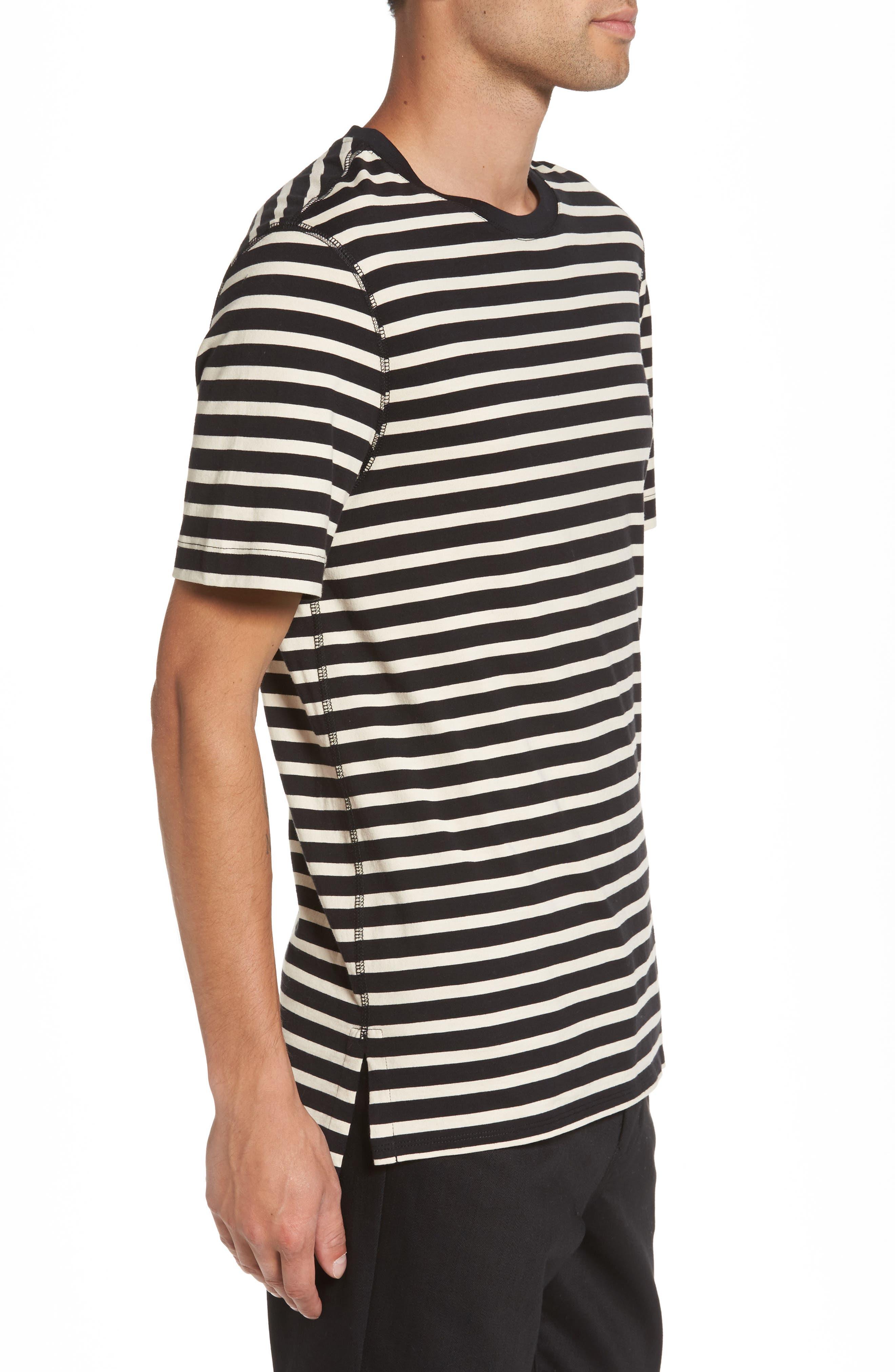 Stripe T-Shirt,                             Alternate thumbnail 3, color,                             Black/ Off White