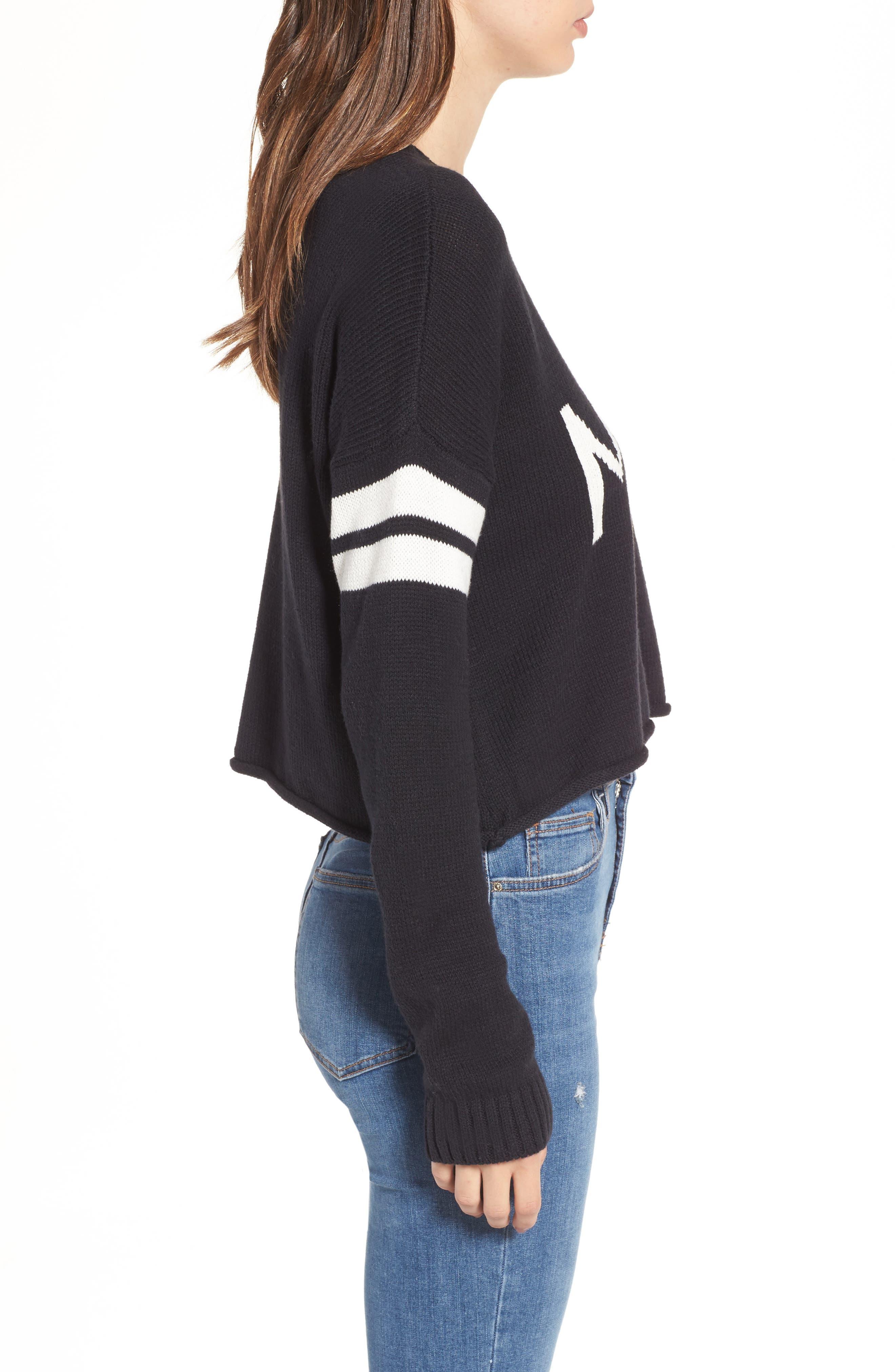 Crop Varsity Sweater,                             Alternate thumbnail 3, color,                             Mumu Stripe Black