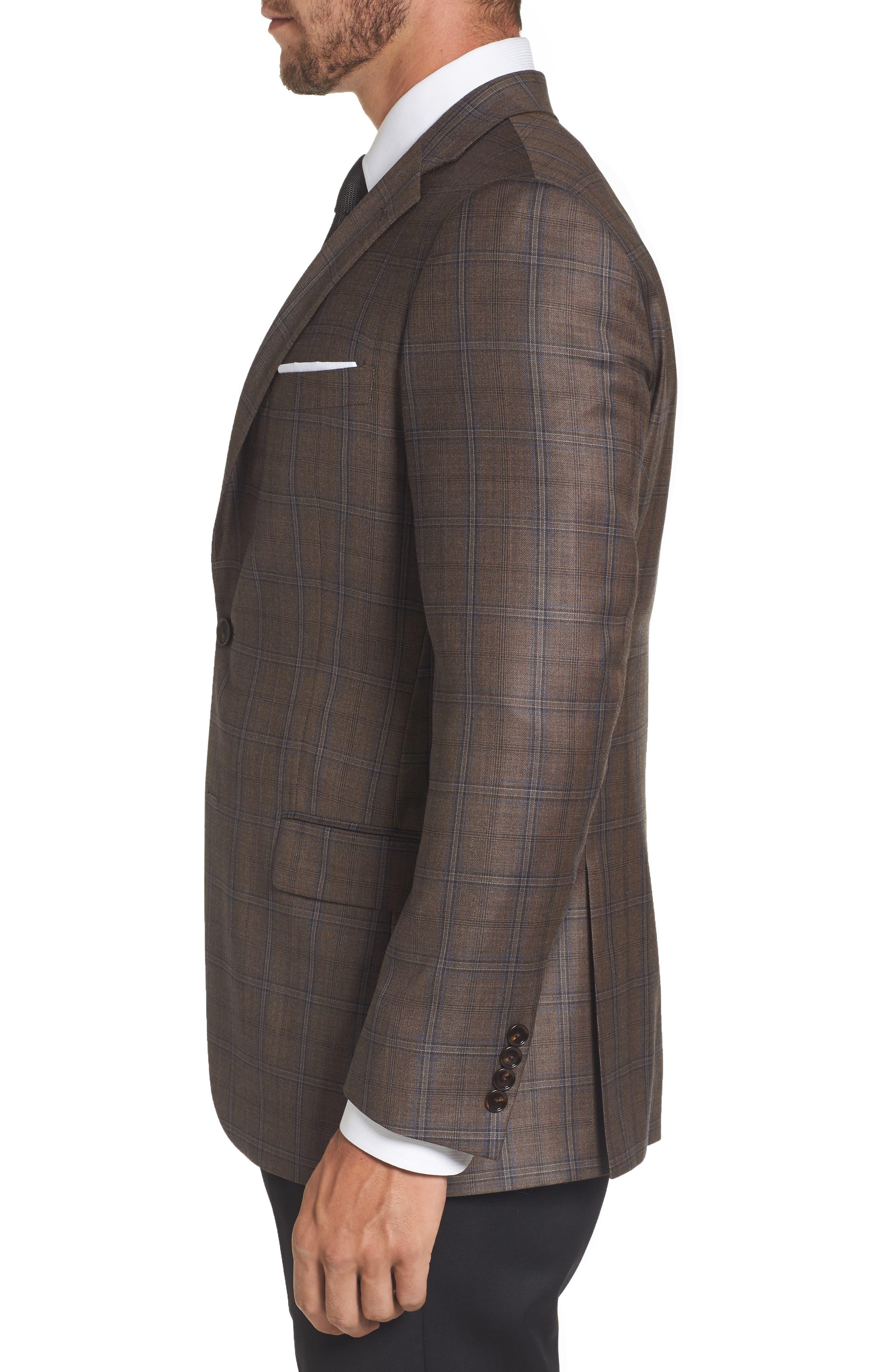 Classic Fit Plaid Wool Sport Coat,                             Alternate thumbnail 3, color,                             Medium Brown