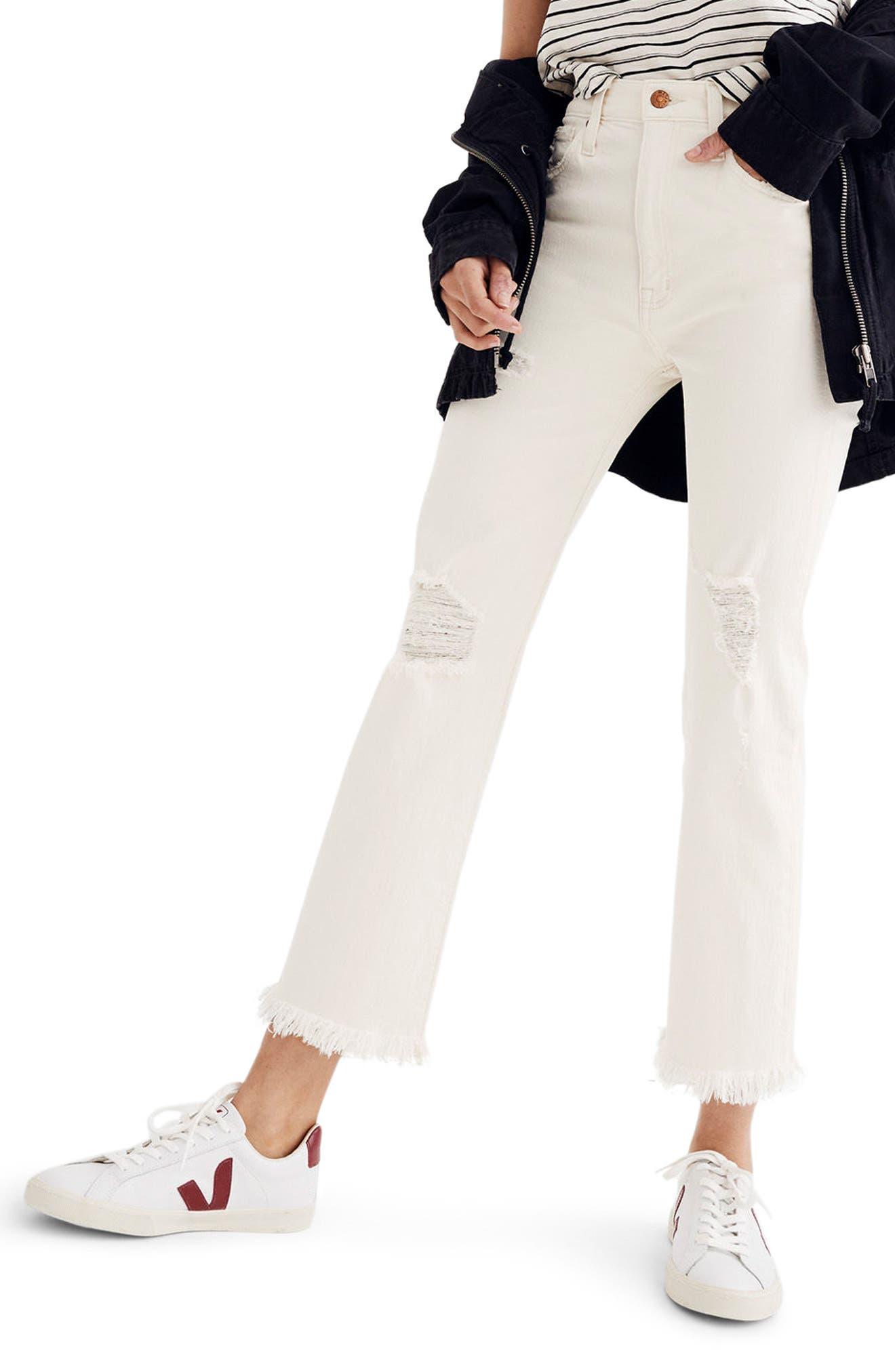 Madewell Retro Ripped Bootcut Crop Jeans (Ecru Wash)