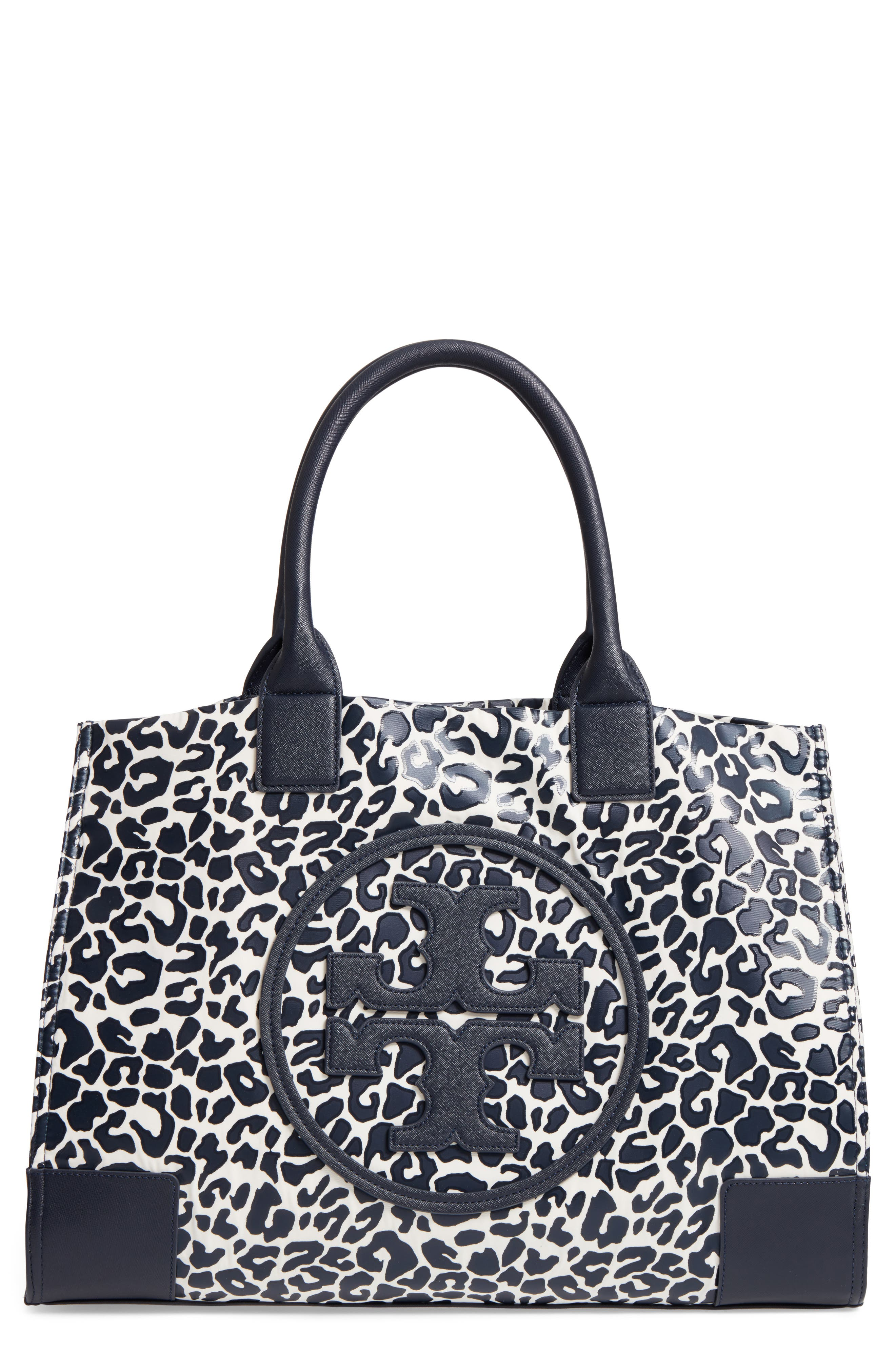 Ella Print Coated Nylon Tote,                         Main,                         color, Tory Navy Clouded Leopard
