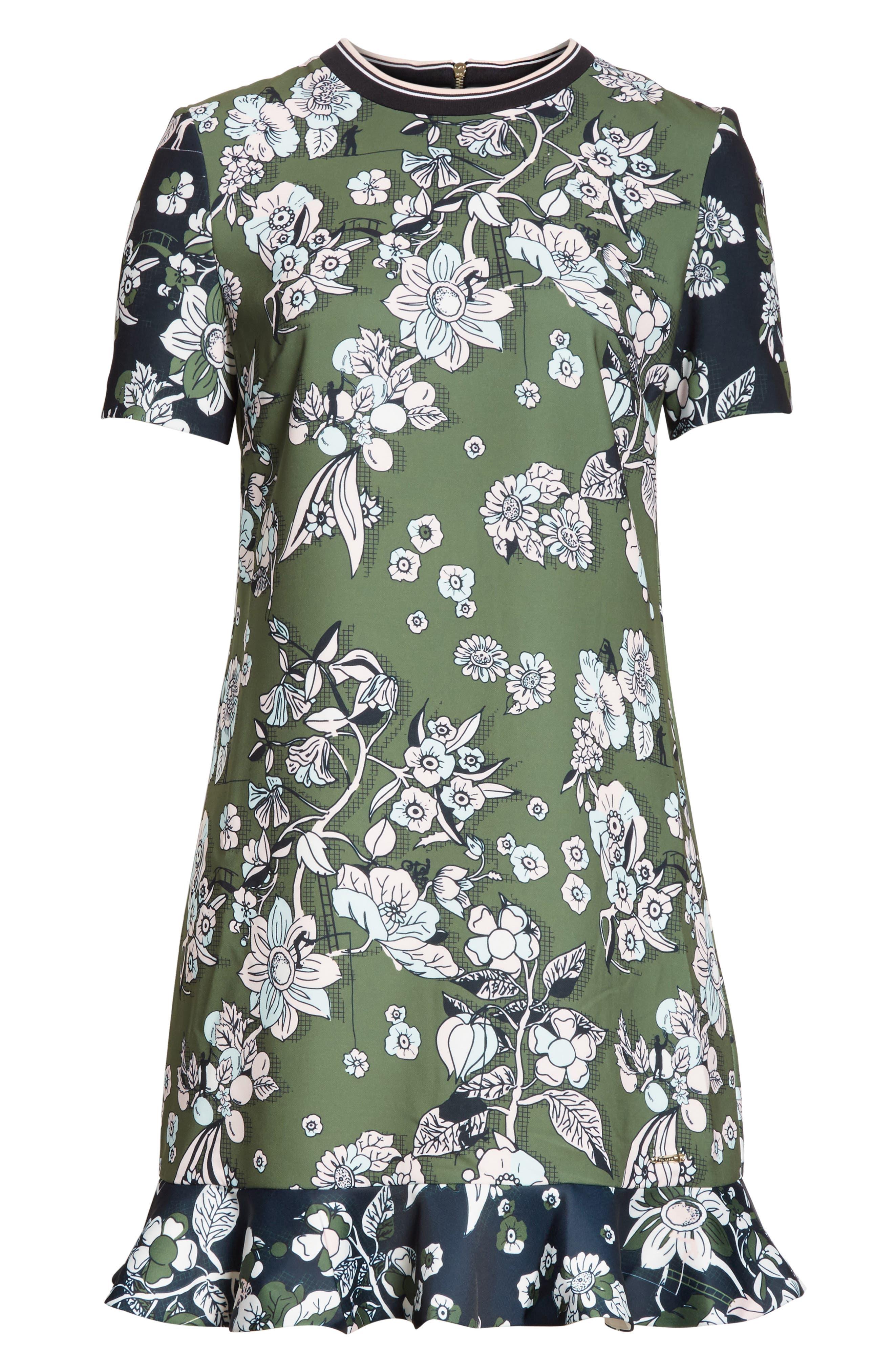 Hoster Floral Print Ruffle Hem Dress,                             Alternate thumbnail 6, color,                             Green