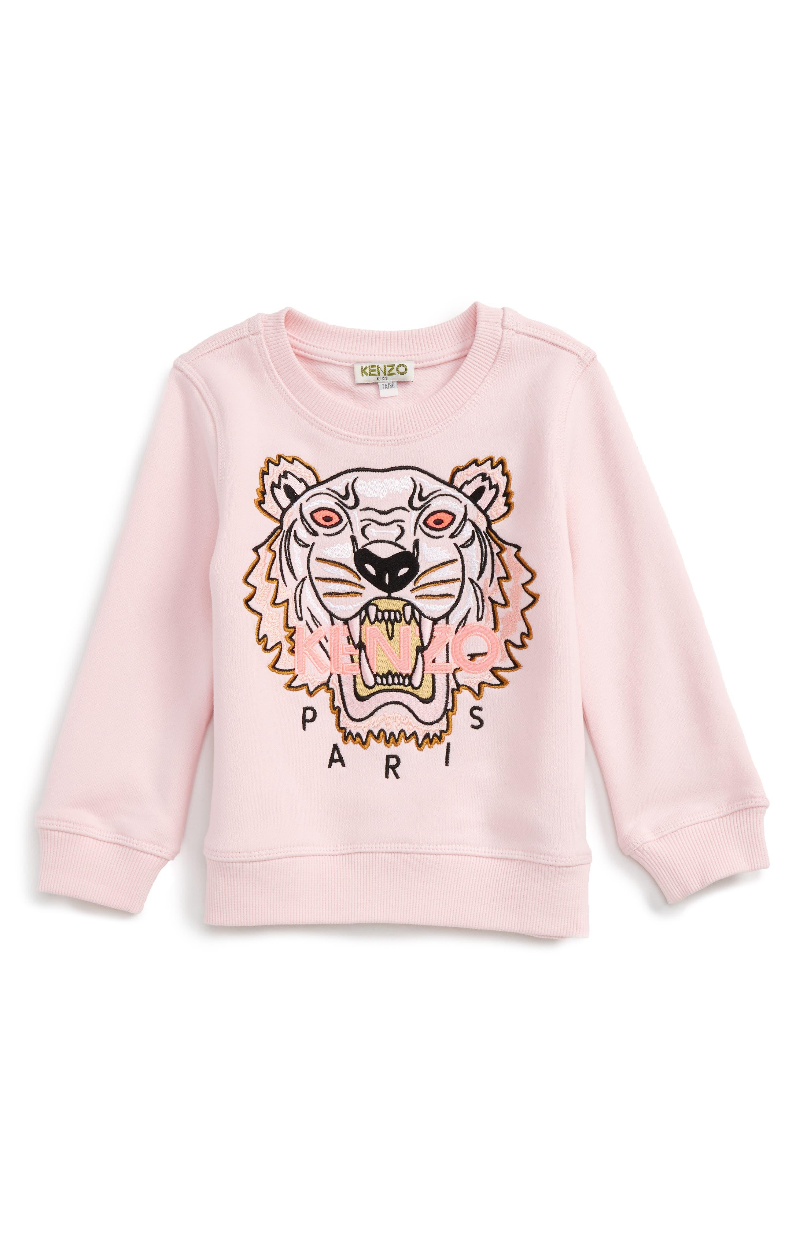 Tiger Sweatshirt,                         Main,                         color, Old Pink