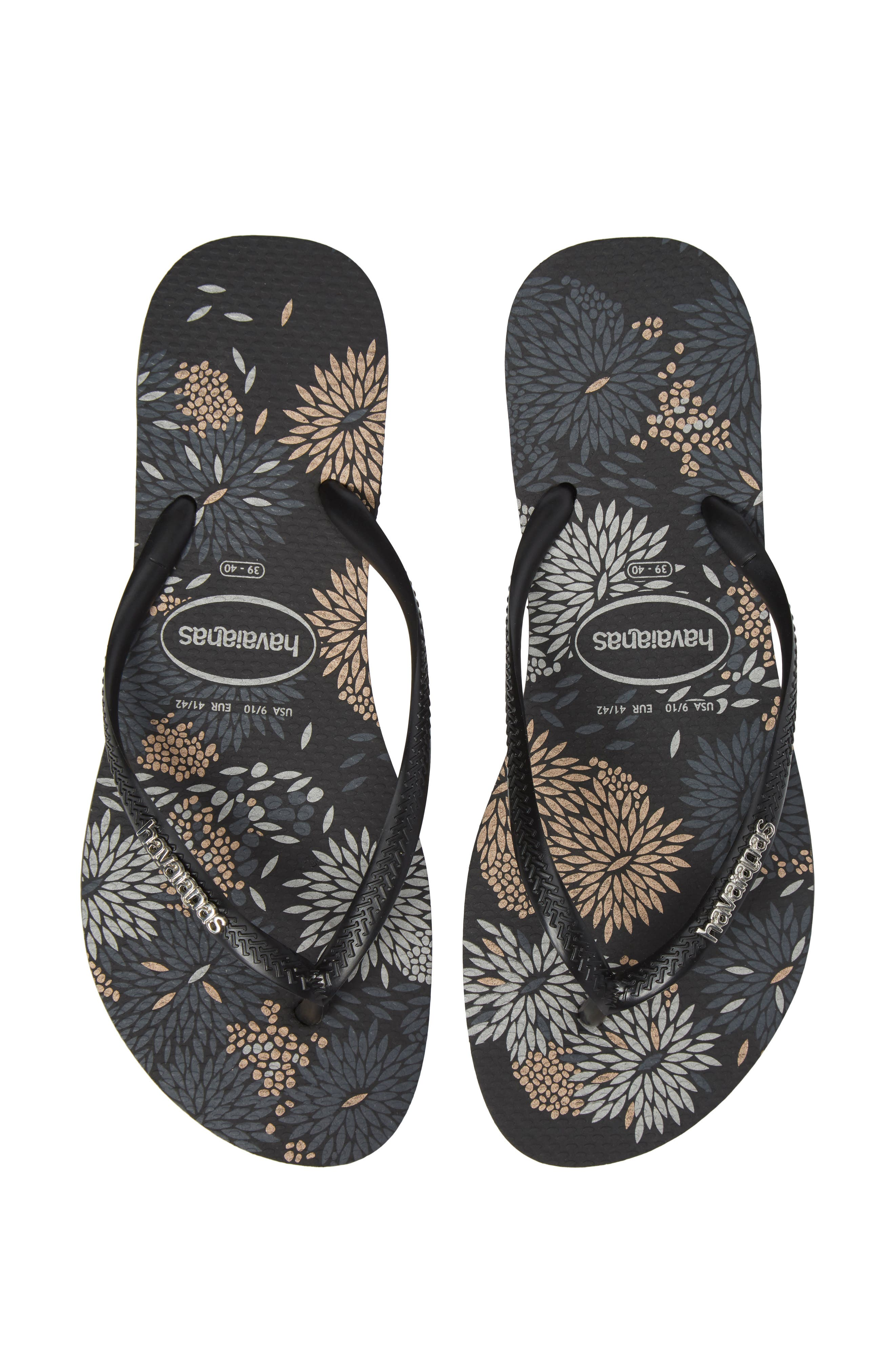 Slim Metallic Bloom Flip Flop,                             Alternate thumbnail 5, color,                             Black/ Silver