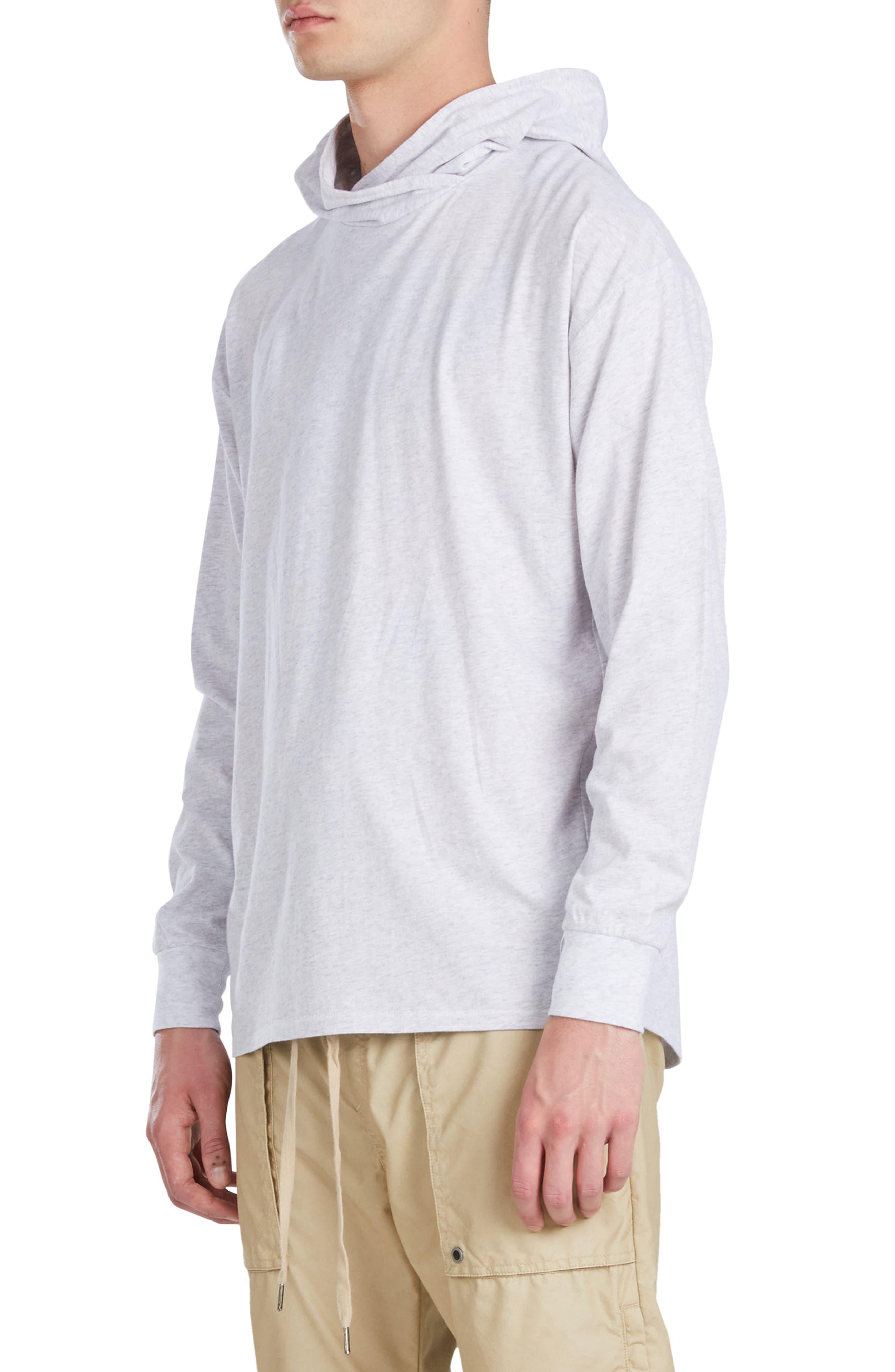 Rugger Long Sleeve Hooded T-Shirt,                             Alternate thumbnail 3, color,                             Bleach Marled