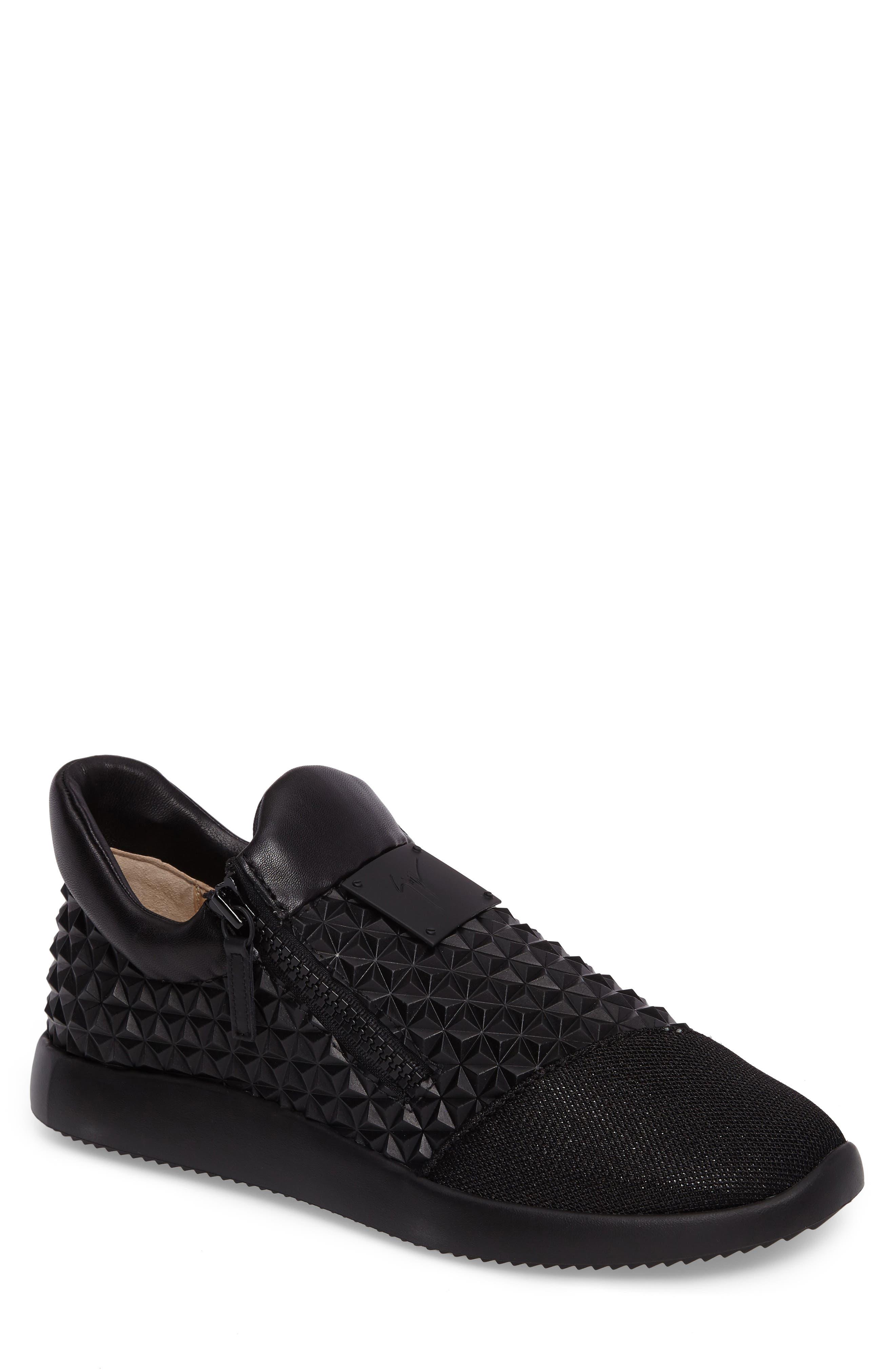 Geo Embossed Zip Sneaker,                             Main thumbnail 1, color,                             Nero