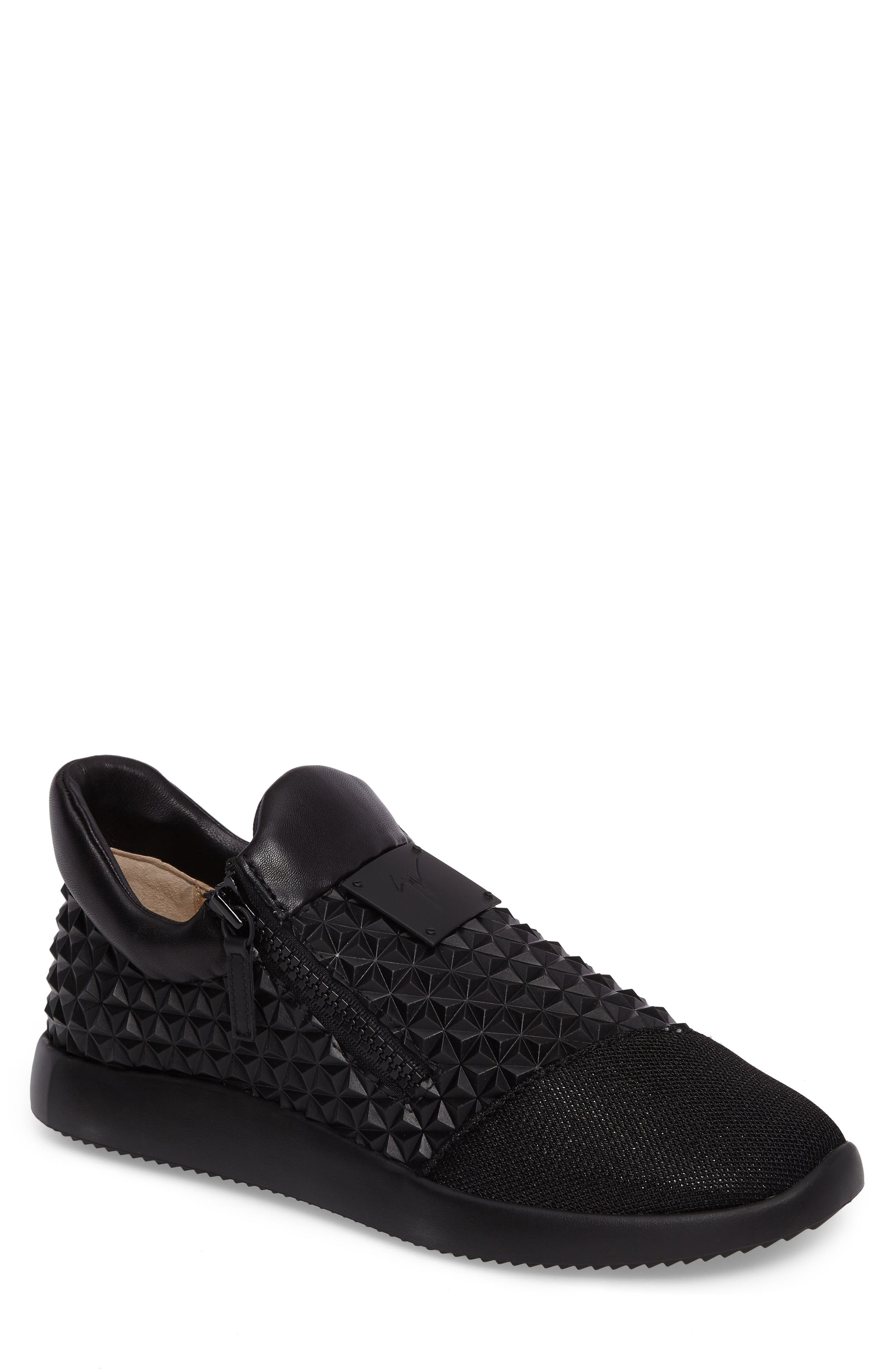 Geo Embossed Zip Sneaker,                         Main,                         color, Nero