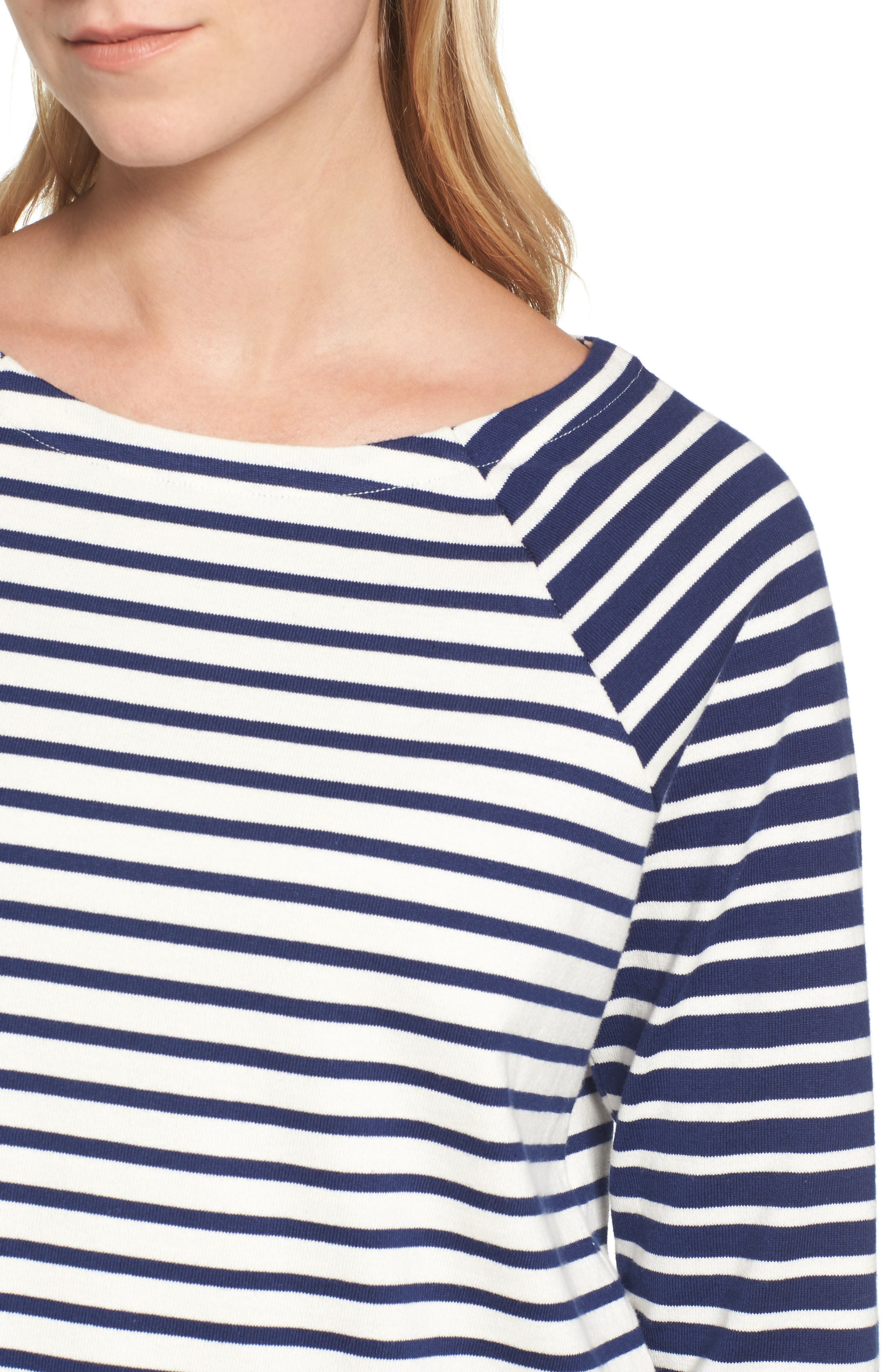 Elbow Patch Mixed Stripe Top,                             Alternate thumbnail 4, color,                             Deep Bay