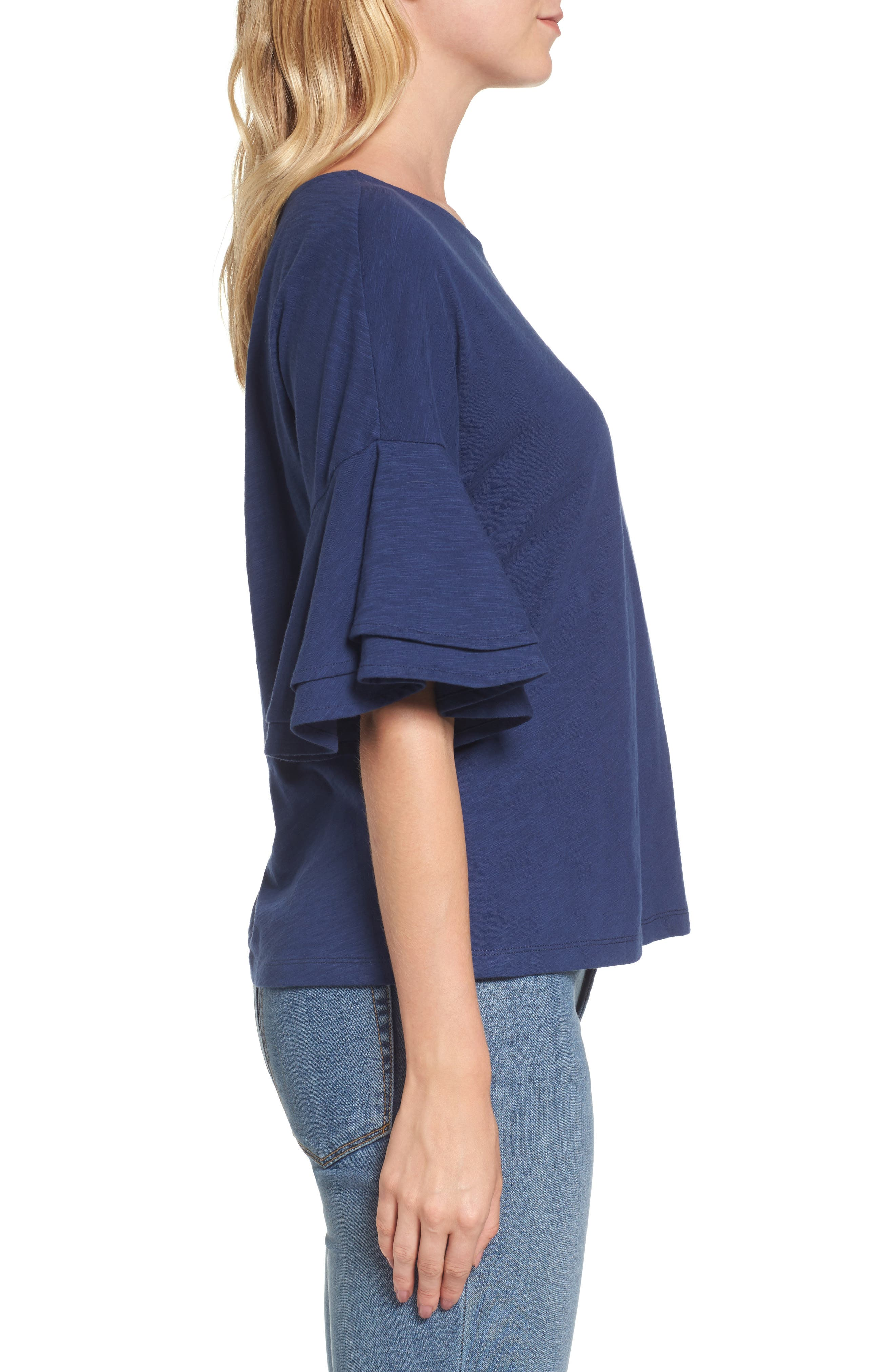 Button Back Bell Sleeve Top,                             Alternate thumbnail 4, color,                             Deep Bay