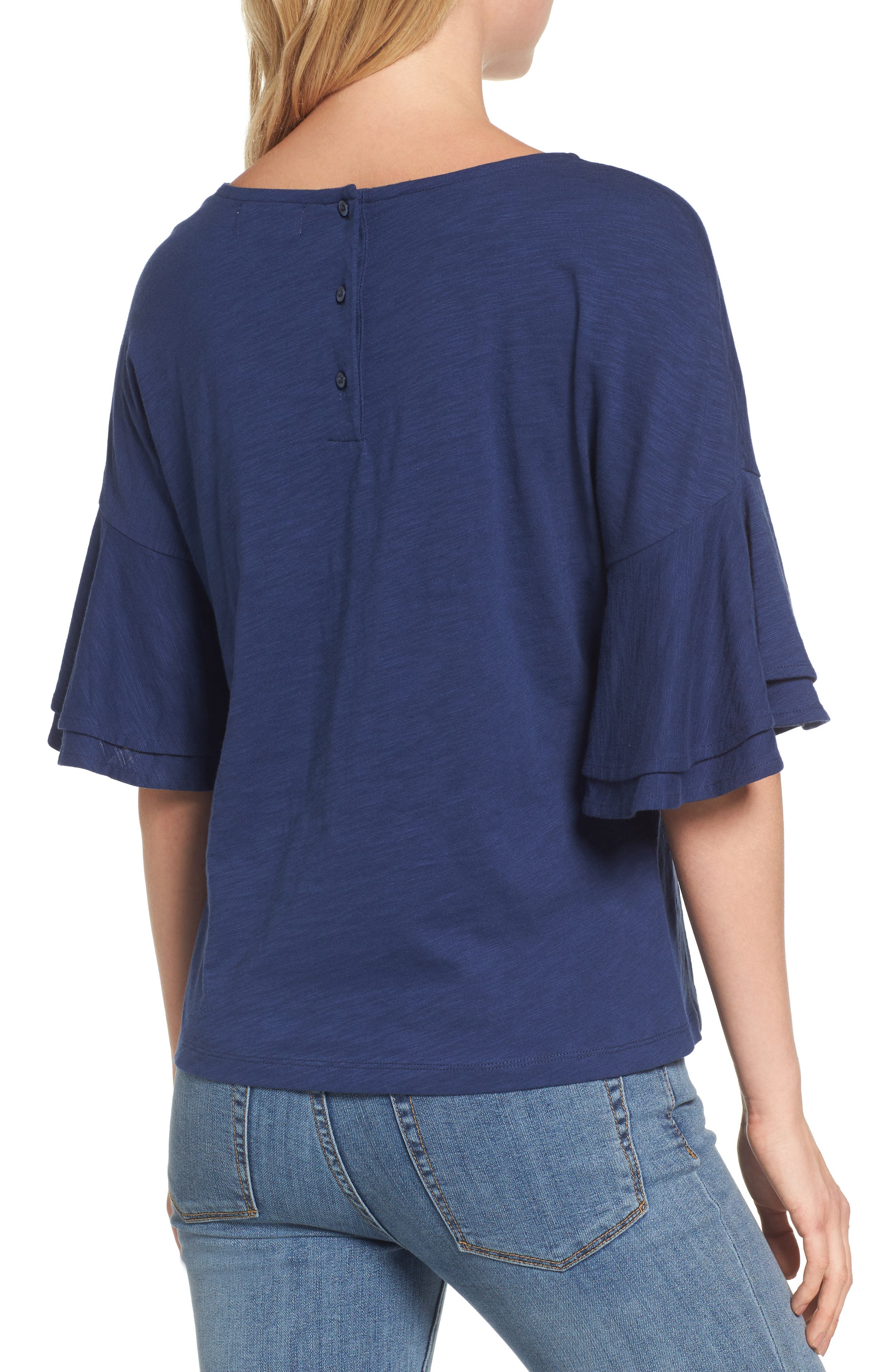 Button Back Bell Sleeve Top,                             Alternate thumbnail 2, color,                             Deep Bay