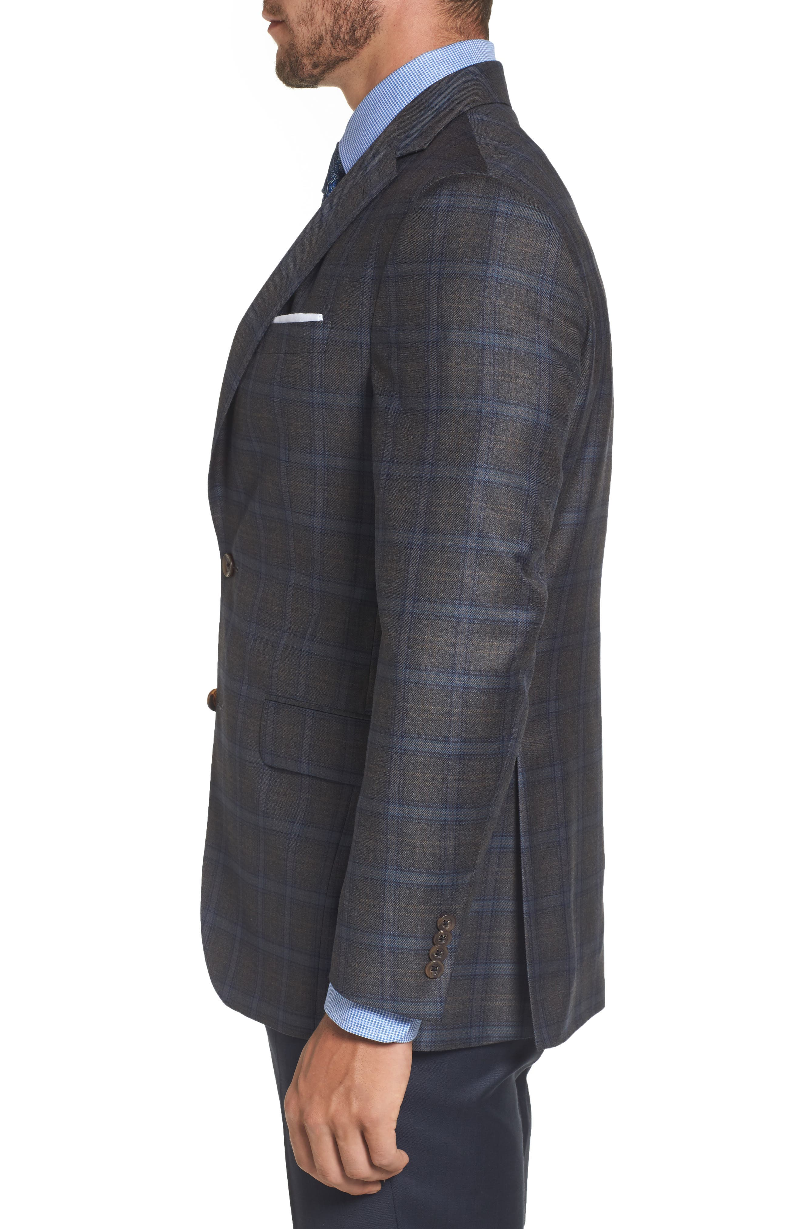 Arnold Classic Fit Plaid Wool Sport Coat,                             Alternate thumbnail 3, color,                             Grey