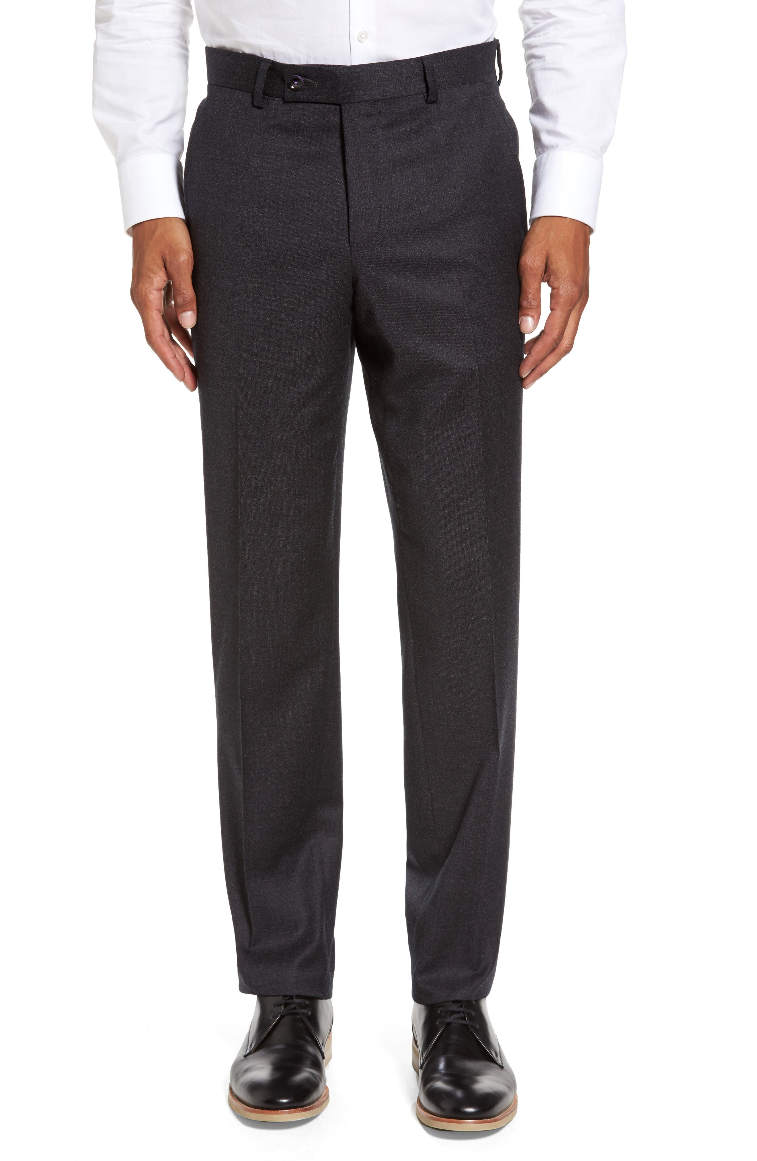 Ted Baker London Jeremy Flat Front Solid Wool Trousers