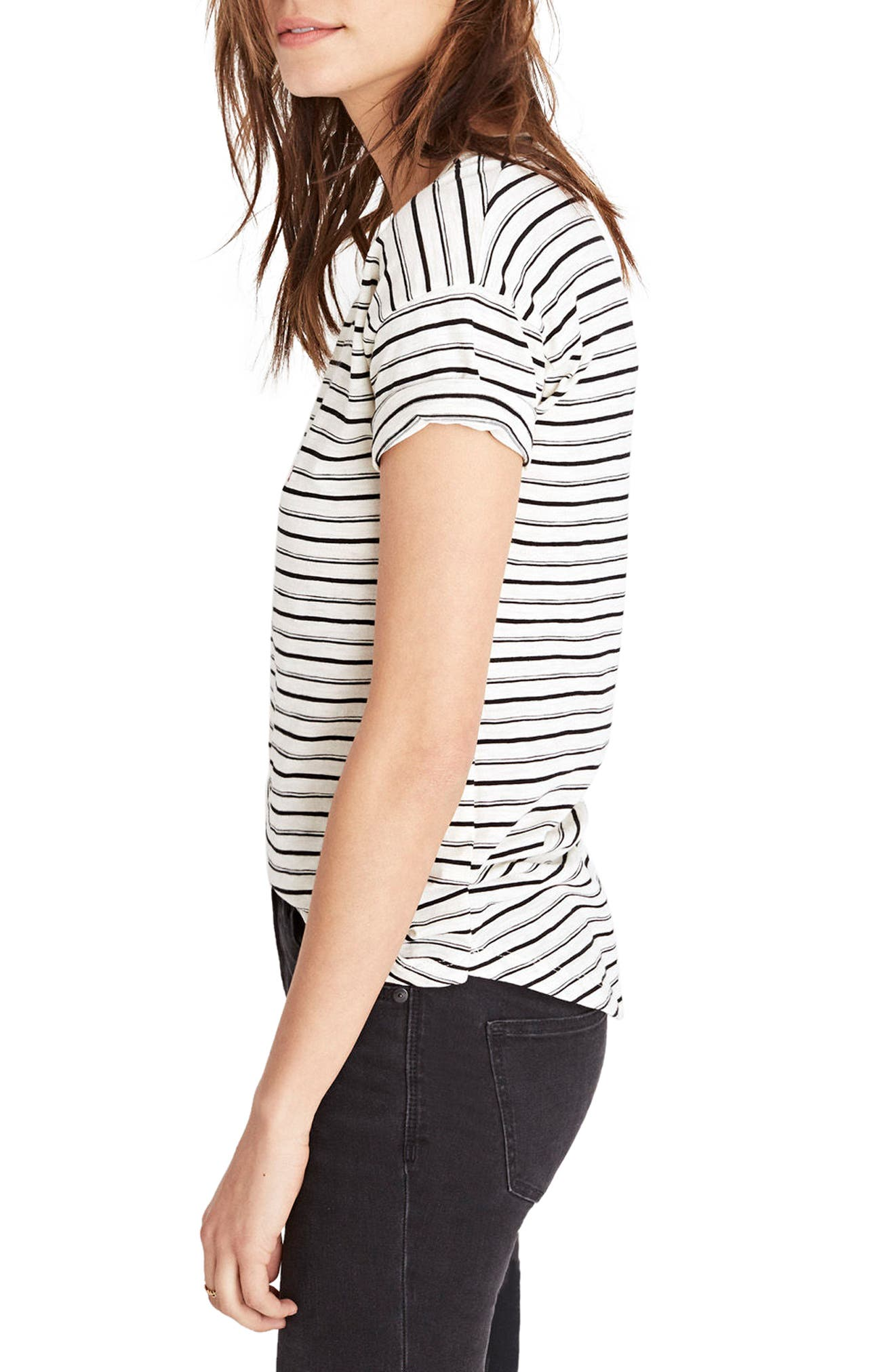 This or That Whisper Cotton Stripe Tee,                             Alternate thumbnail 3, color,                             Antique Cream