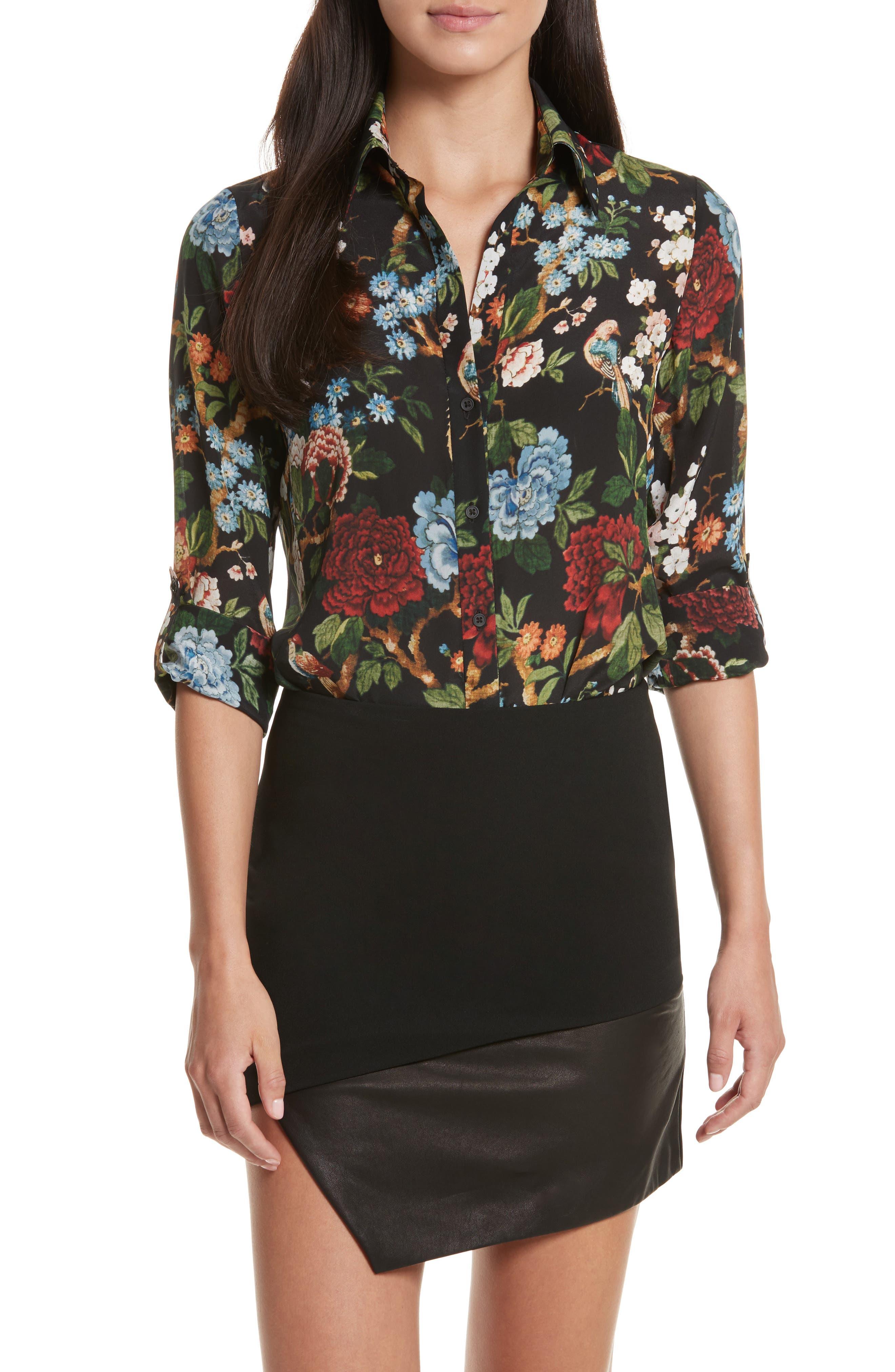 Cal Print Silk Shirt,                         Main,                         color, Chinoiserie Garden/ Black