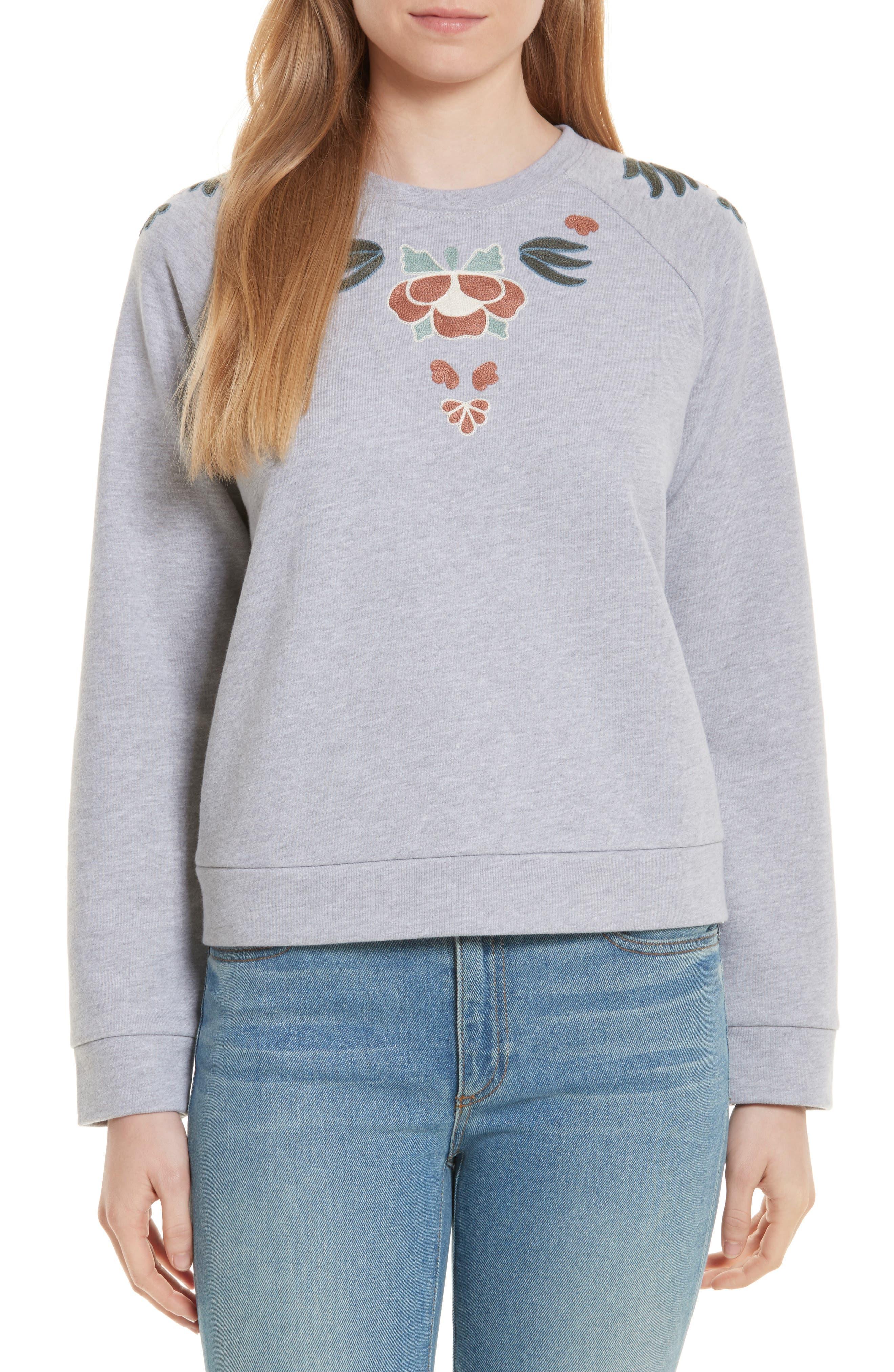 Jennings Embroidered Sweatshirt,                             Main thumbnail 1, color,                             Heather Grey