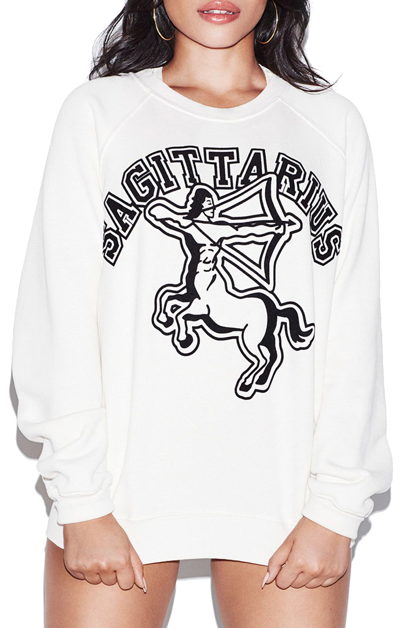 Alternate Image 1 Selected - Good American Horoscope Sweatshirt (Limited Edition) (Extended Sizes)