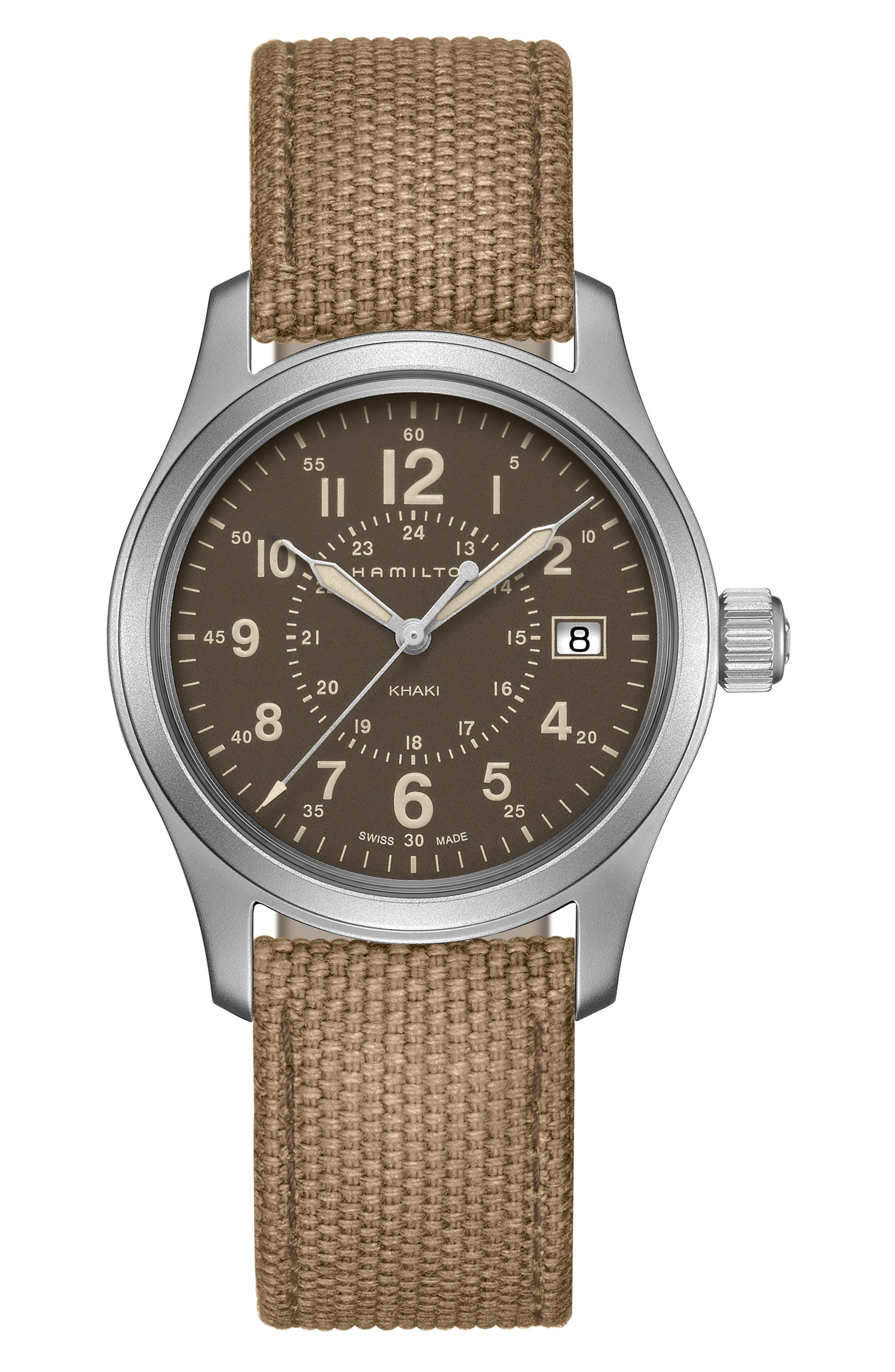Khaki Field Canvas Strap Watch, 38mm,                         Main,                         color, Beige/ Brown/ Silver