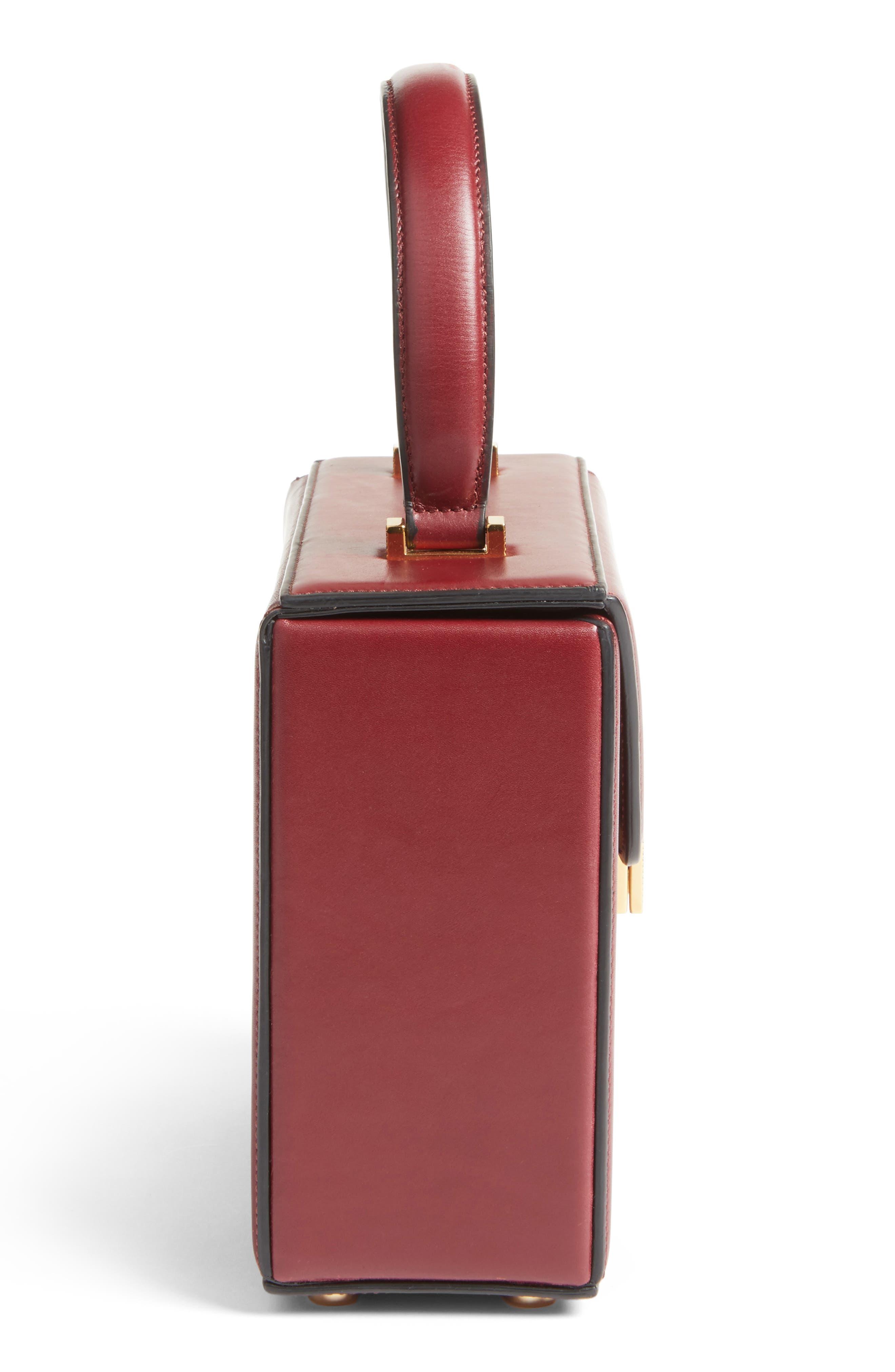 Mini Vanity Top Handle Box Bag,                             Alternate thumbnail 4, color,                             Bordeaux