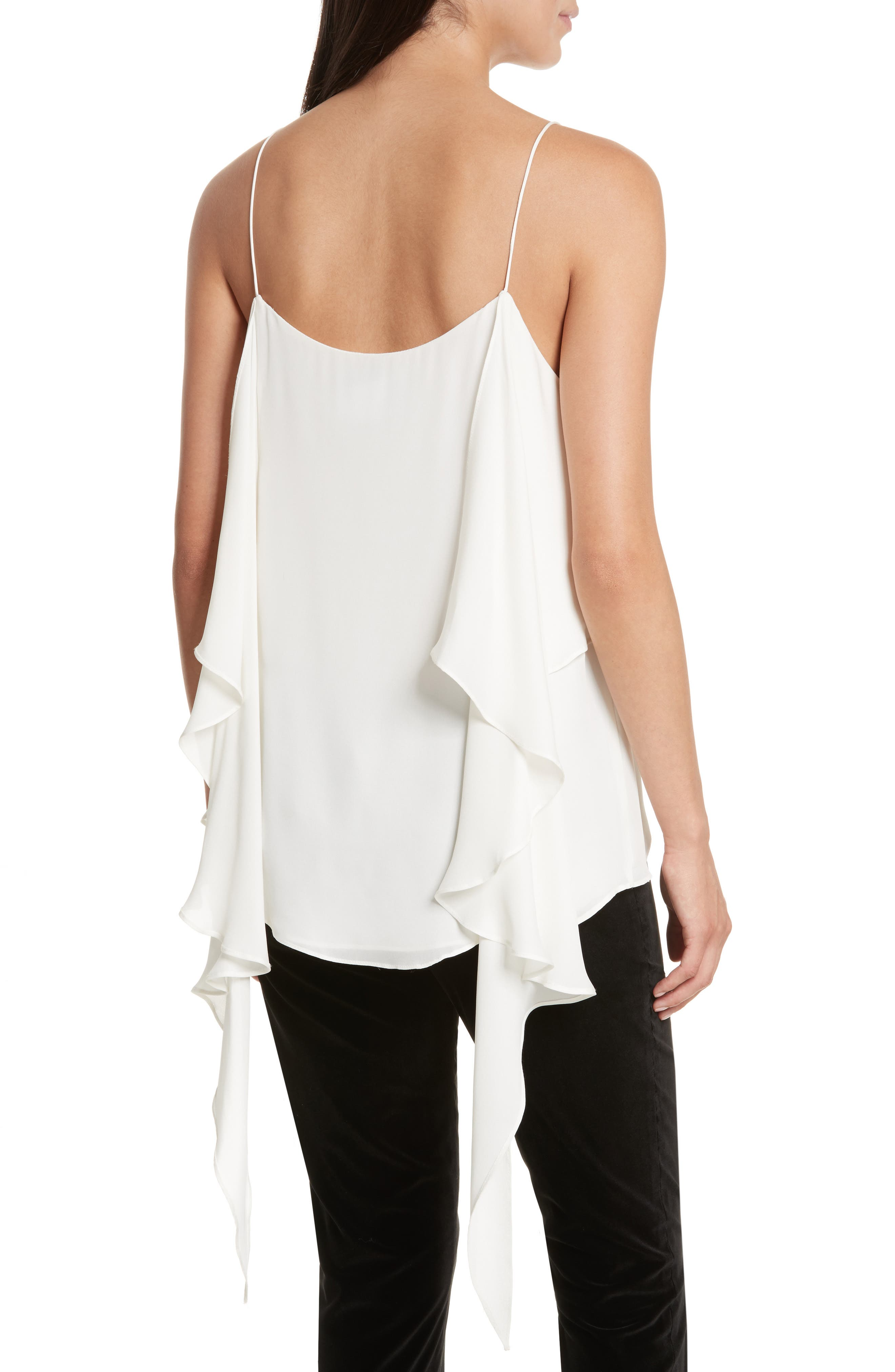 Maribel Asymmetrical Drape Silk Camisole,                             Alternate thumbnail 4, color,                             Off White