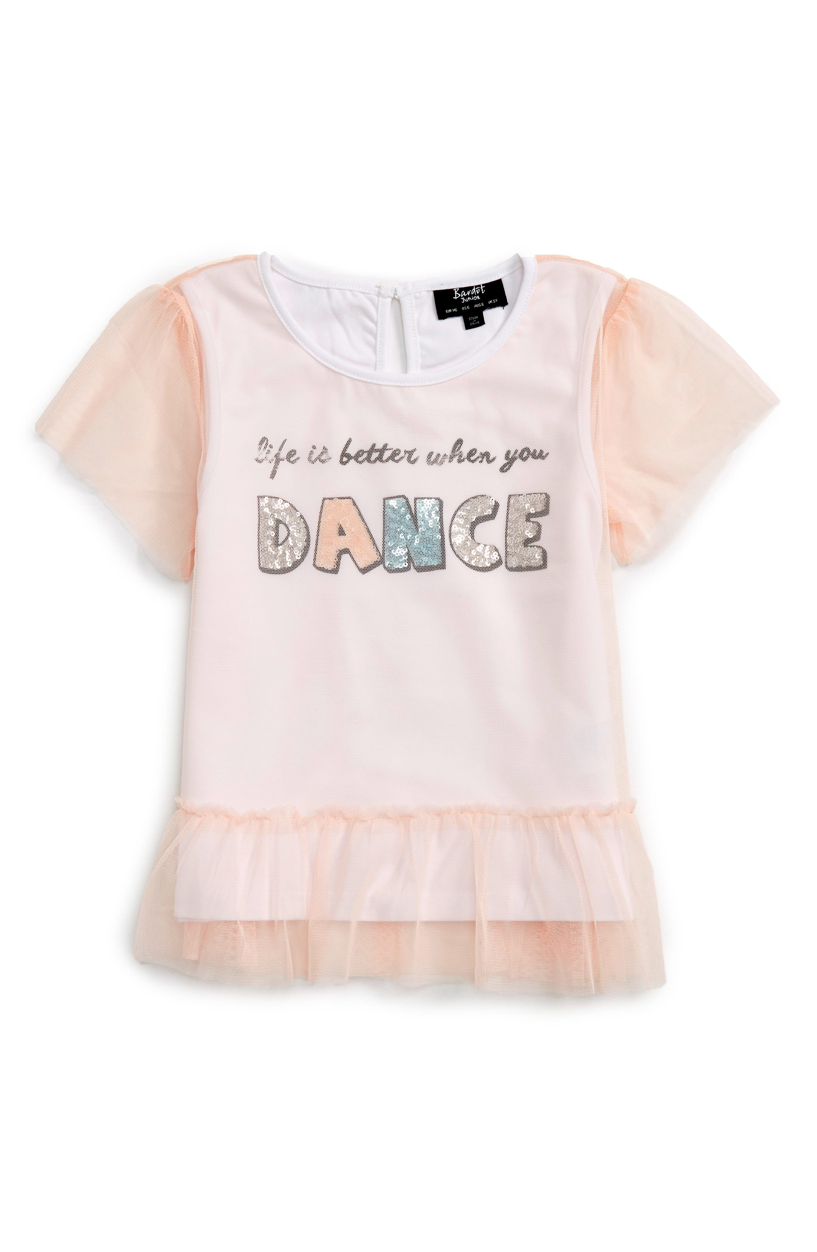 Dance Tulle Overlay Tee,                             Main thumbnail 1, color,                             Soft Pink