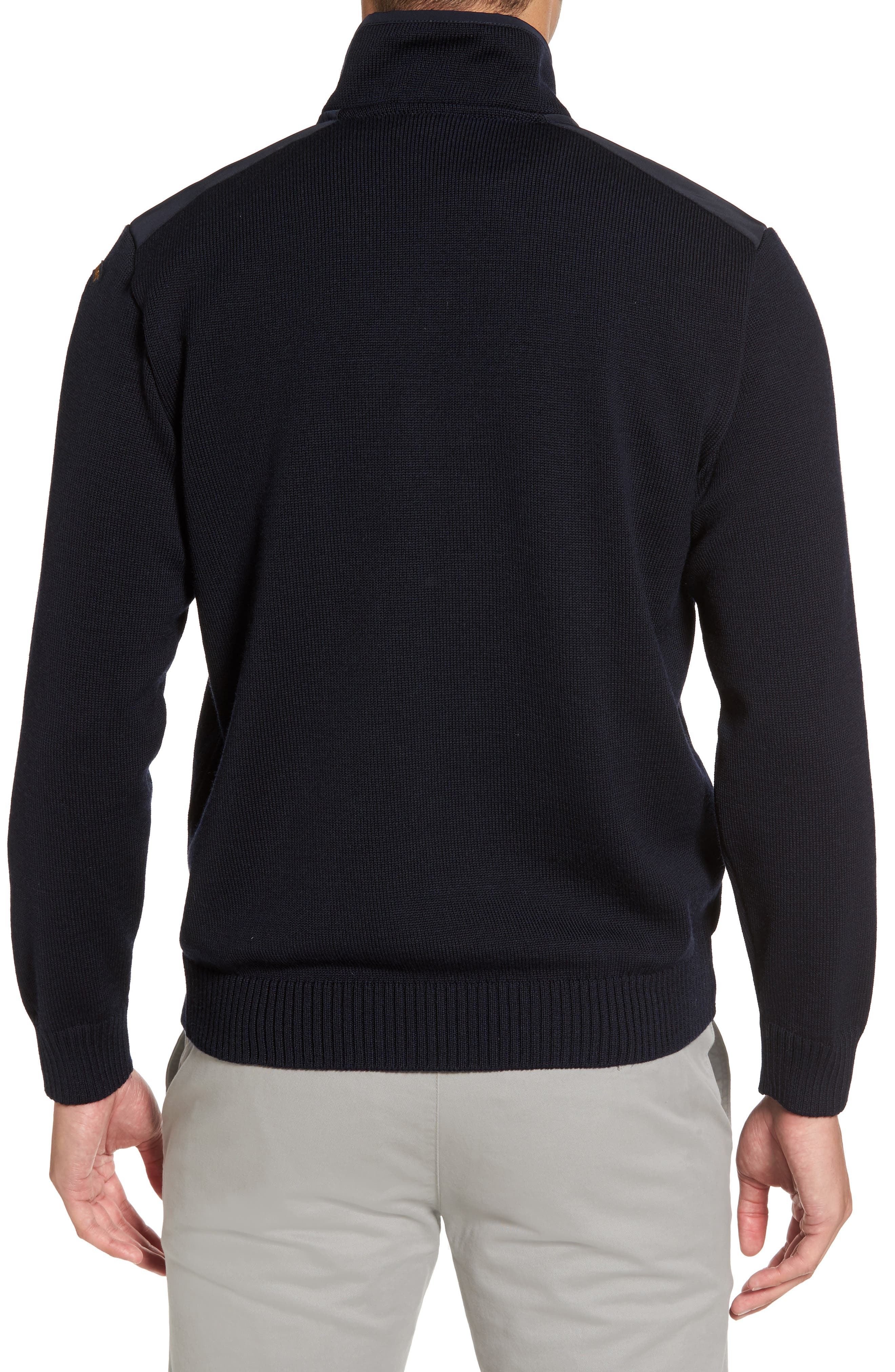 Paul&Shark Bretagne Quarter Zip Wool Sweater,                             Alternate thumbnail 2, color,                             Navy