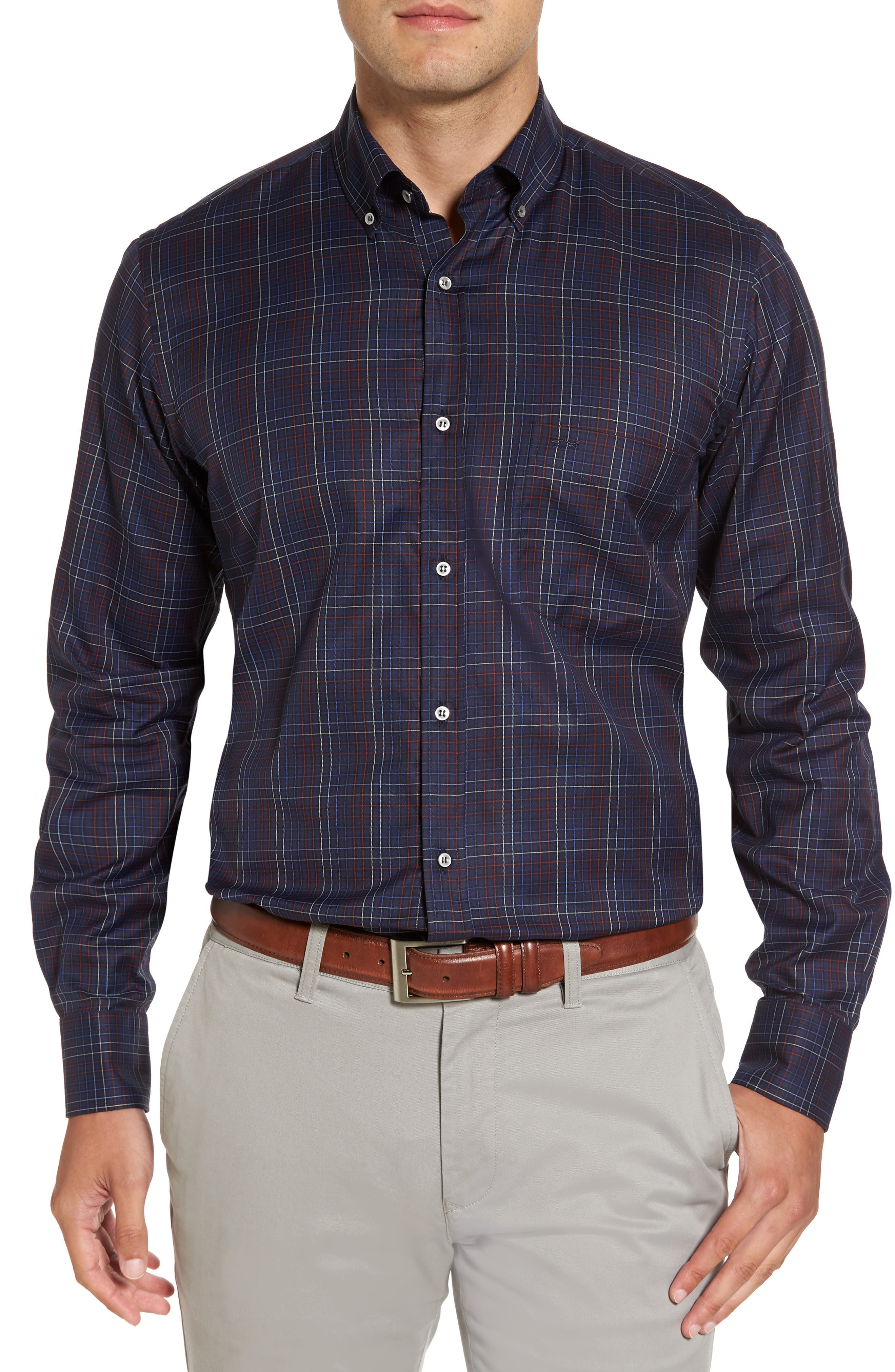 Paul&Shark Silver Collection Windowpane Sport Shirt,                         Main,                         color, Navy / Red