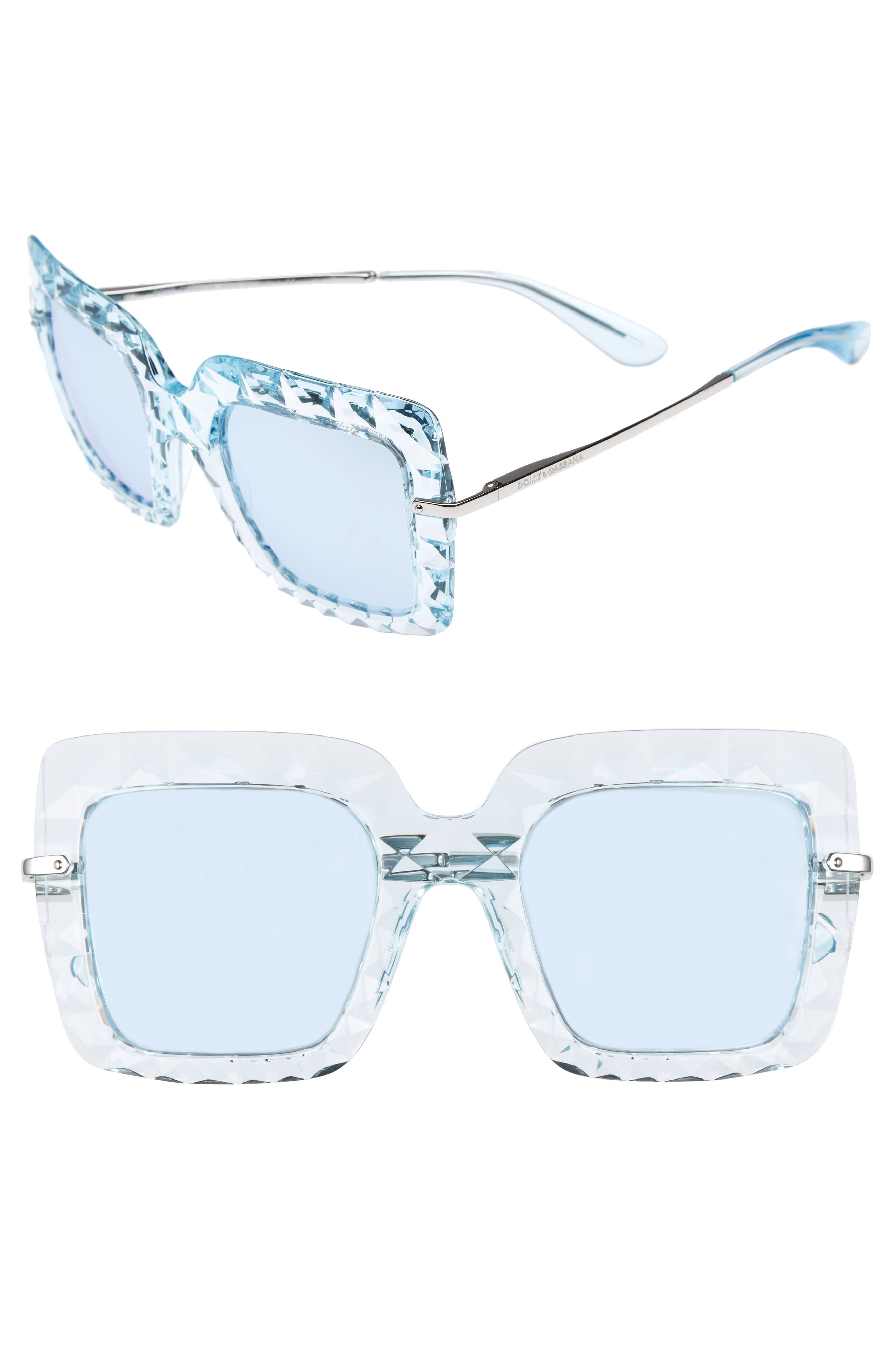 DOLCE&GABBANA 51mm Square Faceted Sunglasses