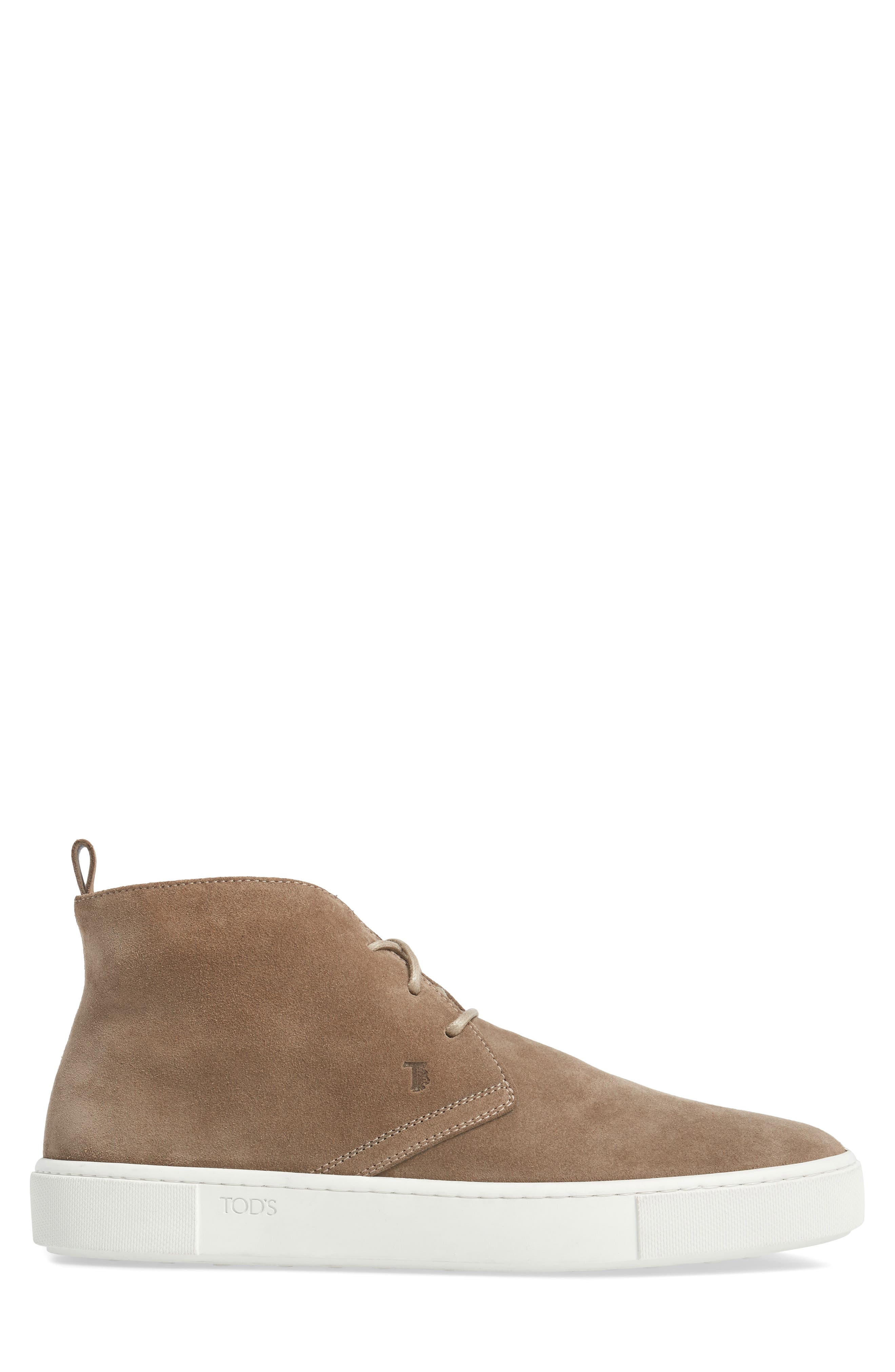 Leather Chukka Boot,                             Alternate thumbnail 3, color,                             Brown Suede