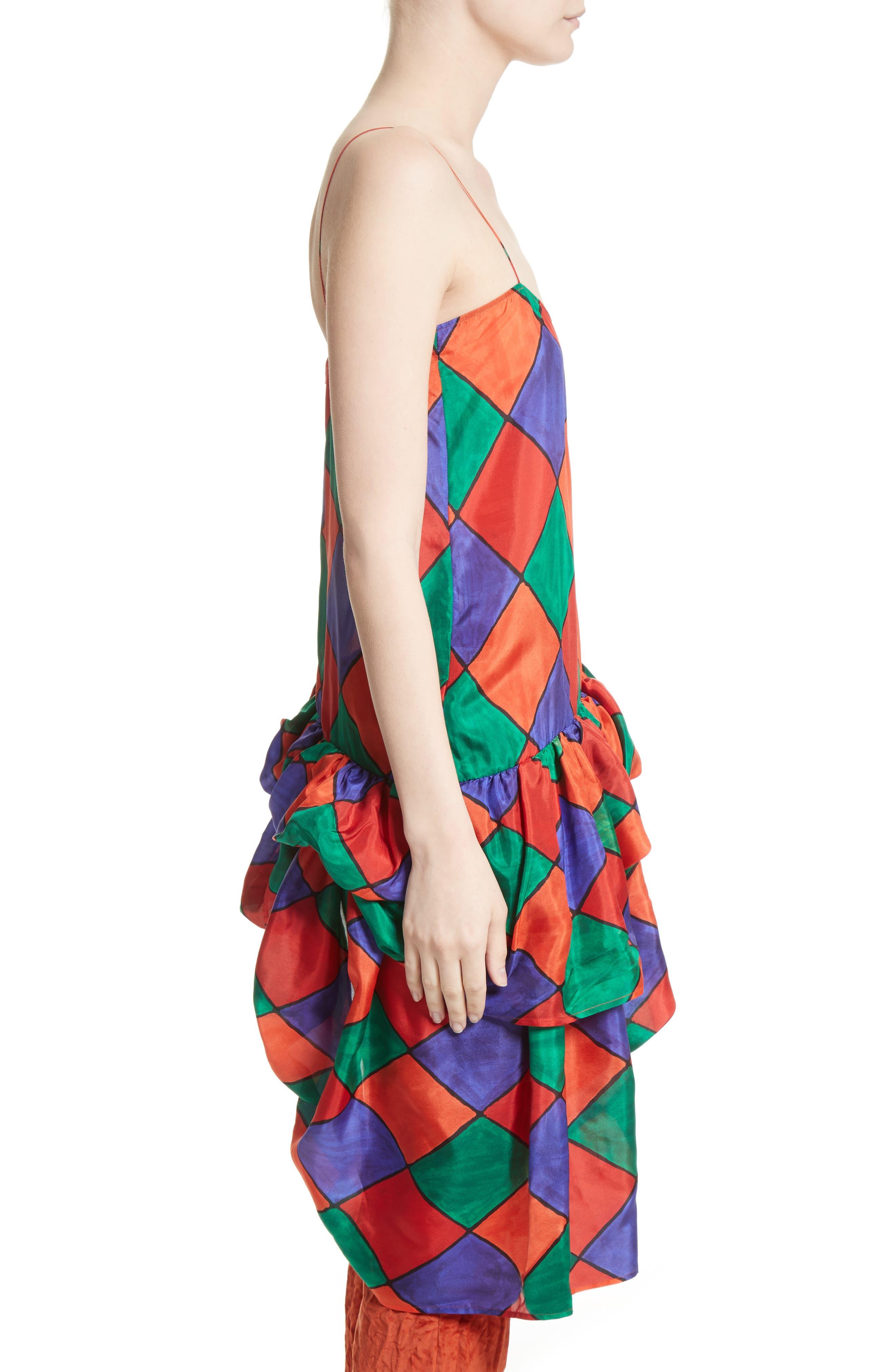 Fairy Asymmetrical Ruffle Silk Top,                             Alternate thumbnail 3, color,                             Carnival