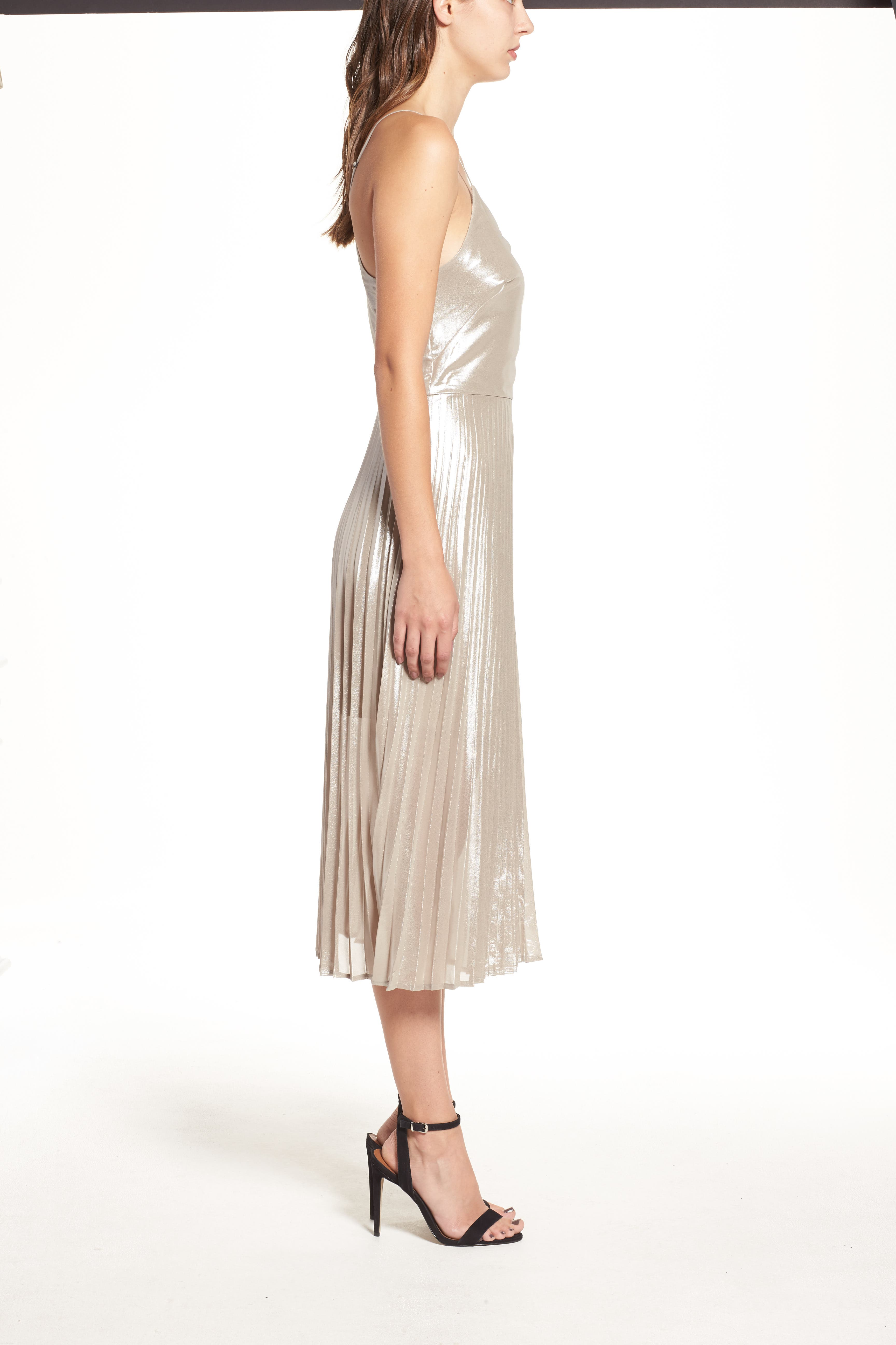 Alternate Image 3  - Love, Fire Metallic Pleated Midi Dress