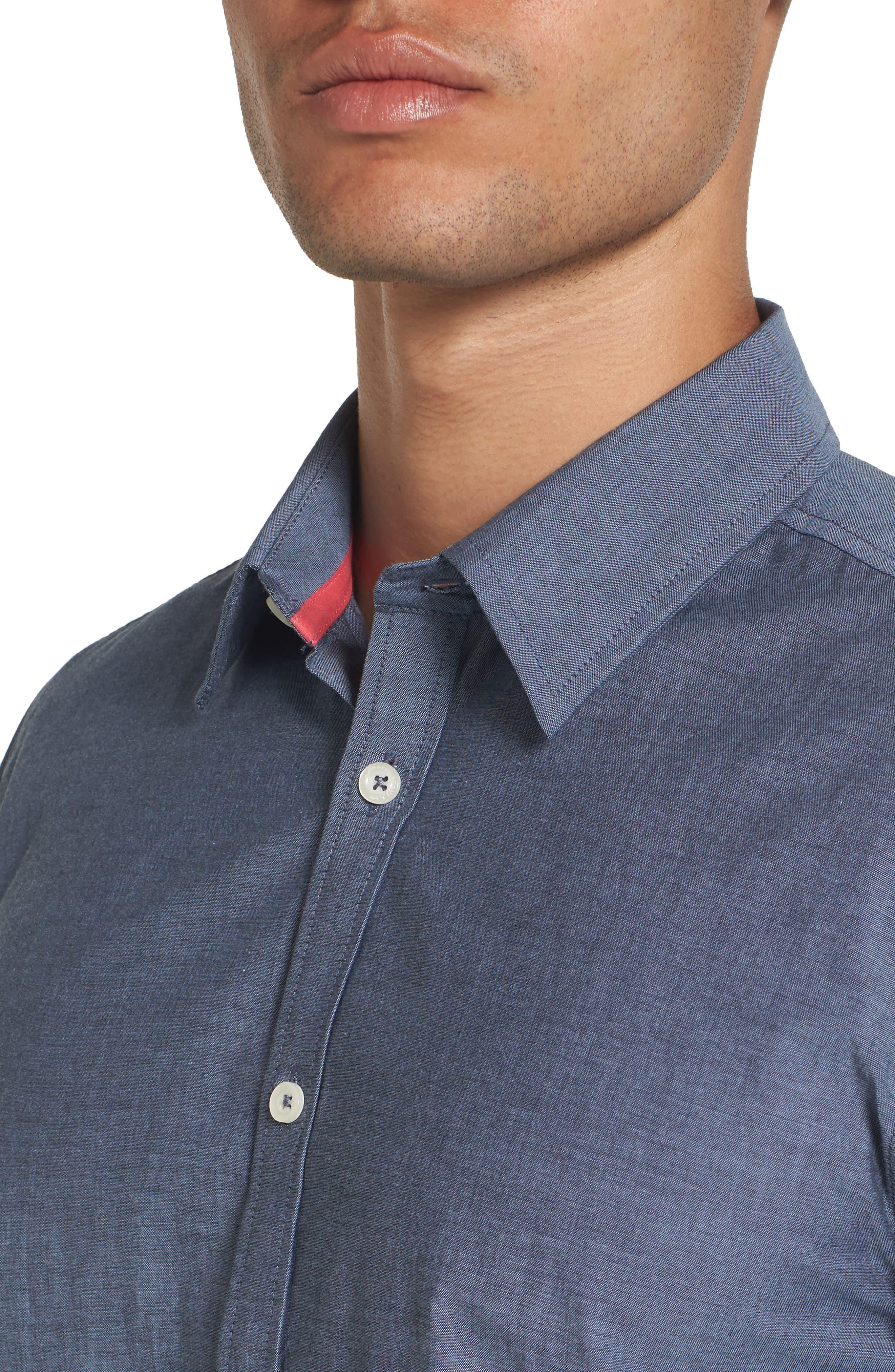 Fitted Sport Shirt,                             Alternate thumbnail 4, color,                             Medium Blue