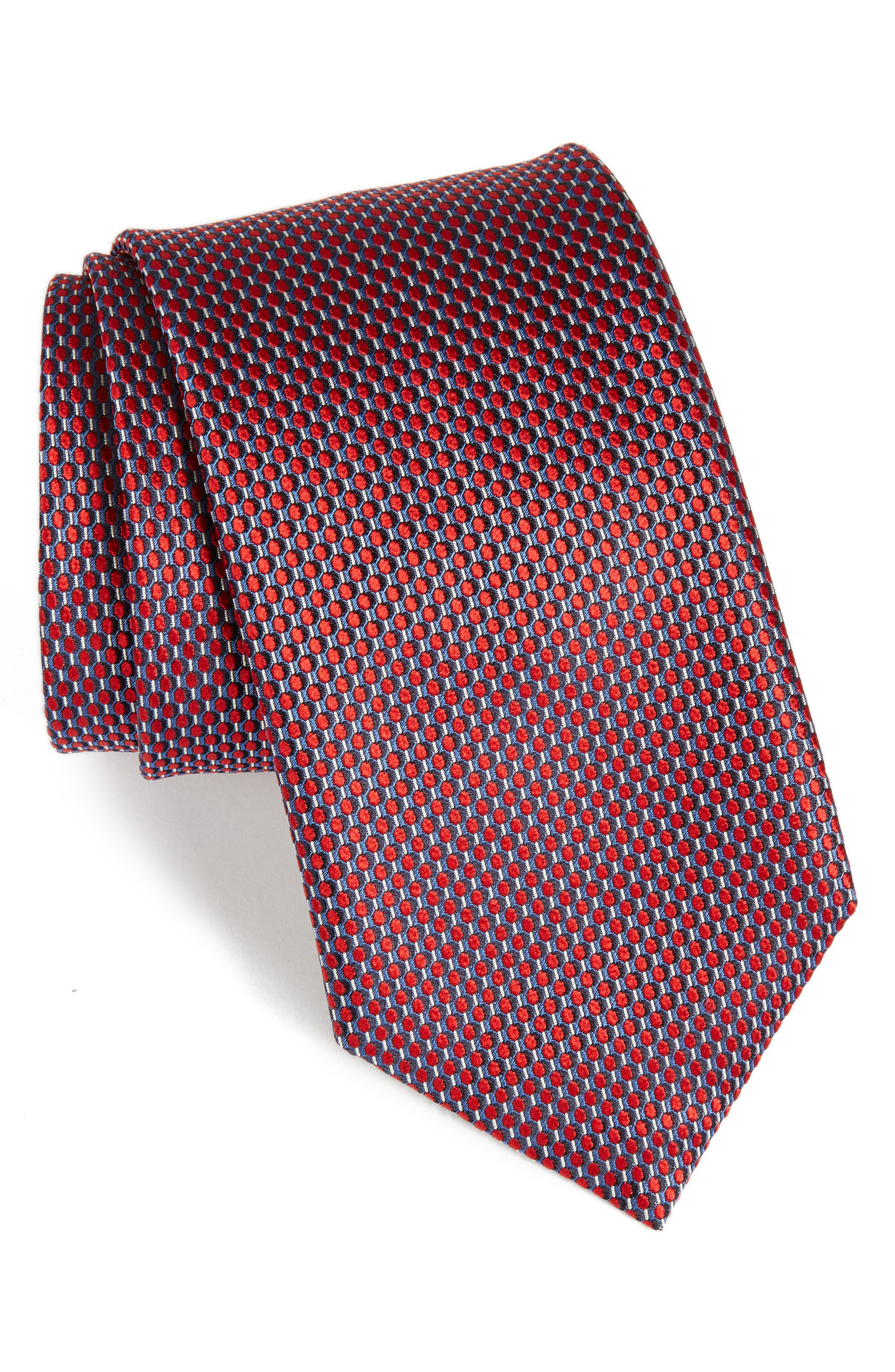 Geometric Silk Tie,                         Main,                         color, Brown