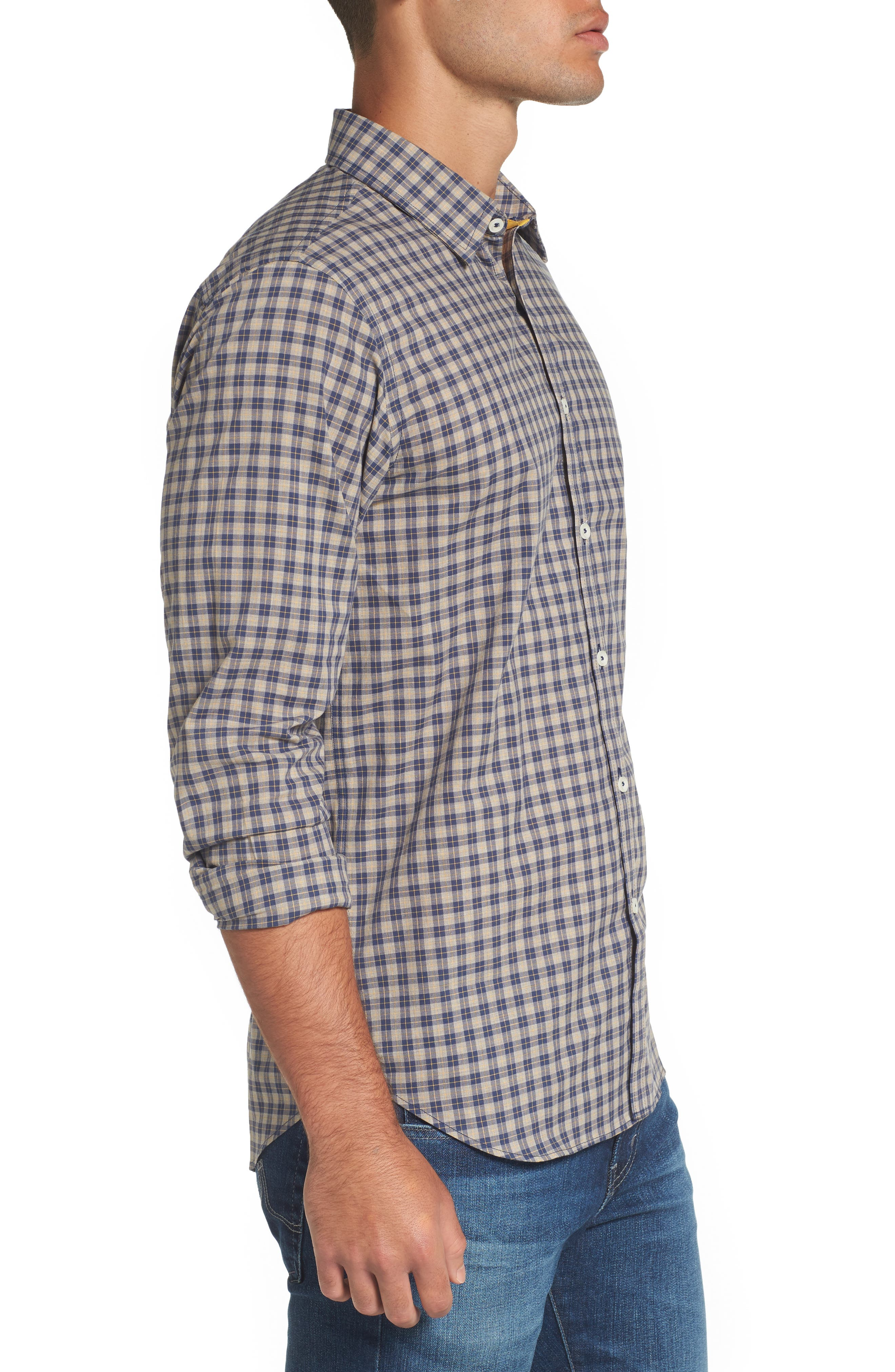 Fitted Plaid Sport Shirt,                             Alternate thumbnail 3, color,                             Open Blue