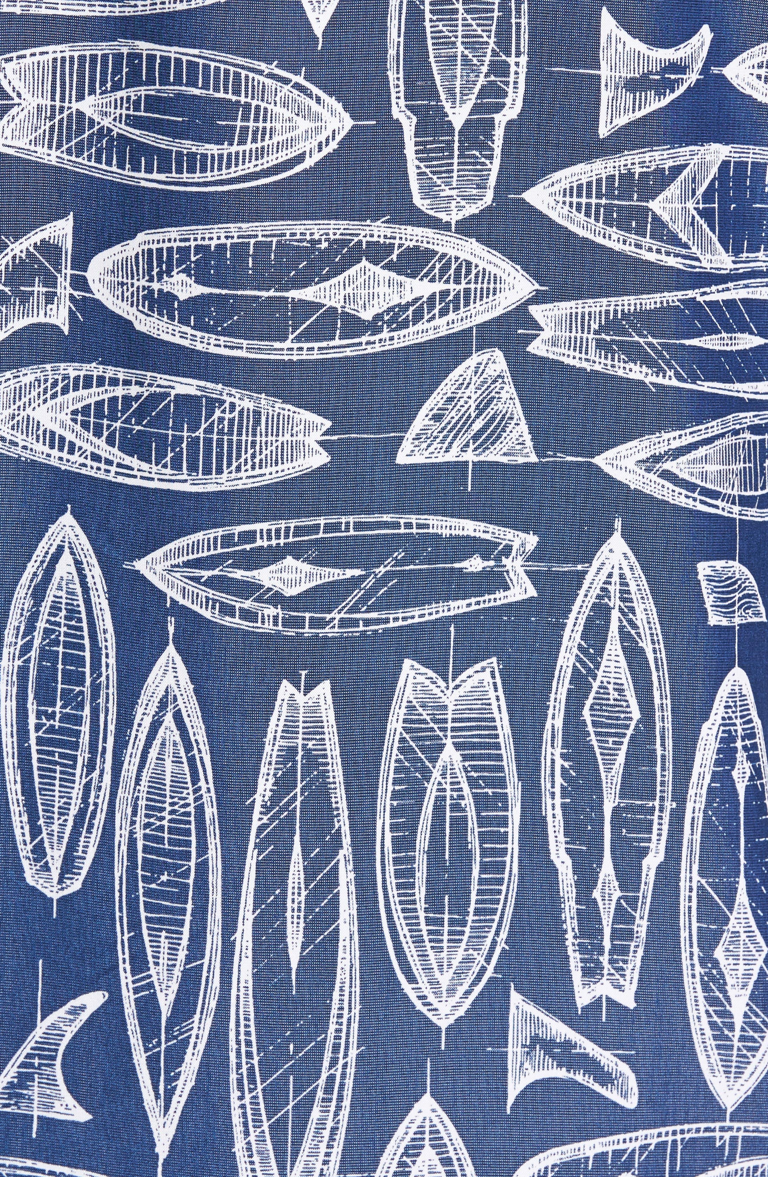 Waveriders Print Camp Shirt,                             Alternate thumbnail 5, color,                             Ocean