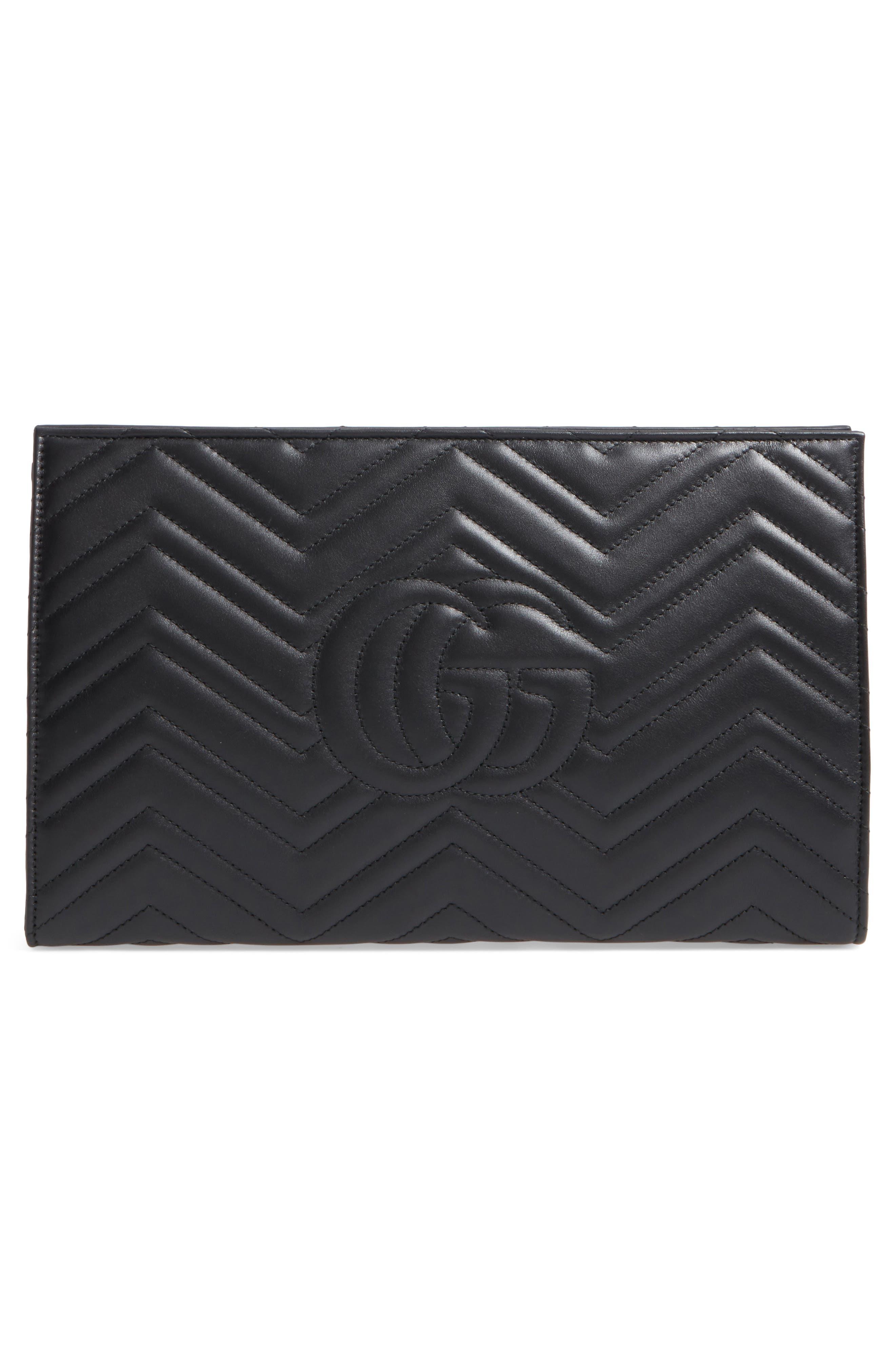 GG Marmont Matelassé Leather Clutch,                             Alternate thumbnail 3, color,                             Nero