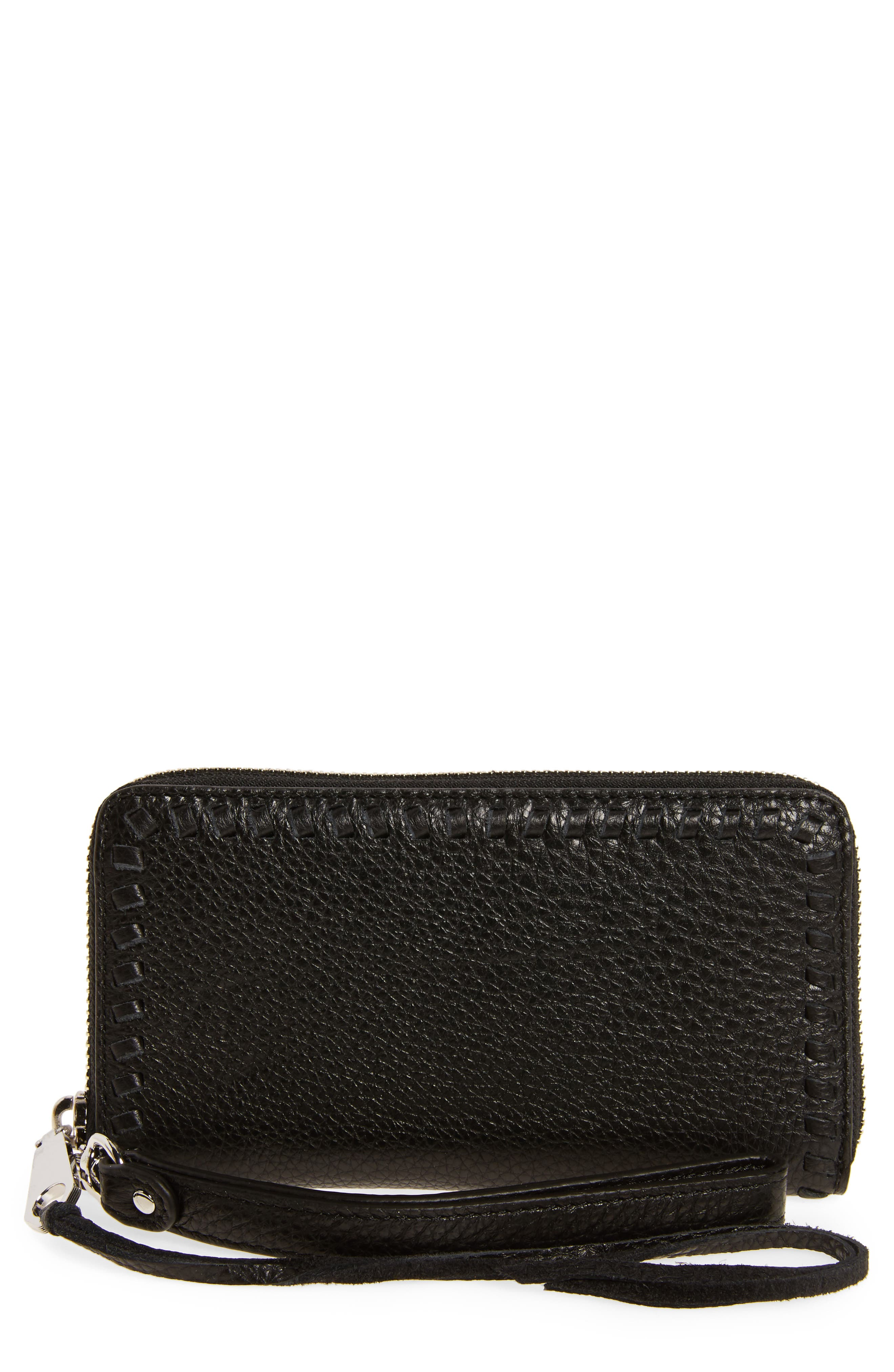 Vanity Leather Phone Wallet,                             Main thumbnail 1, color,                             Black