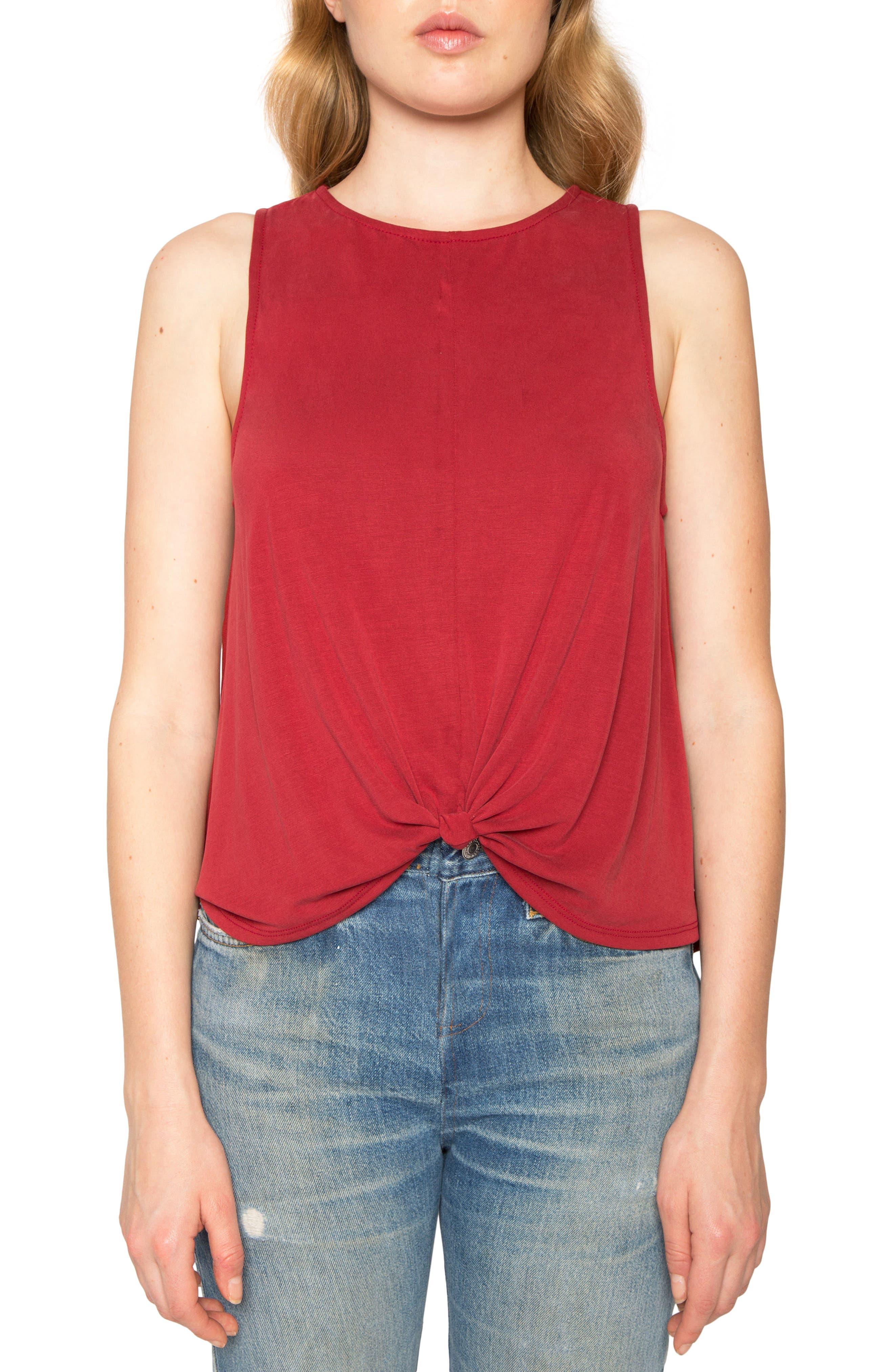 Twist Knit Tank,                         Main,                         color, Deep Red