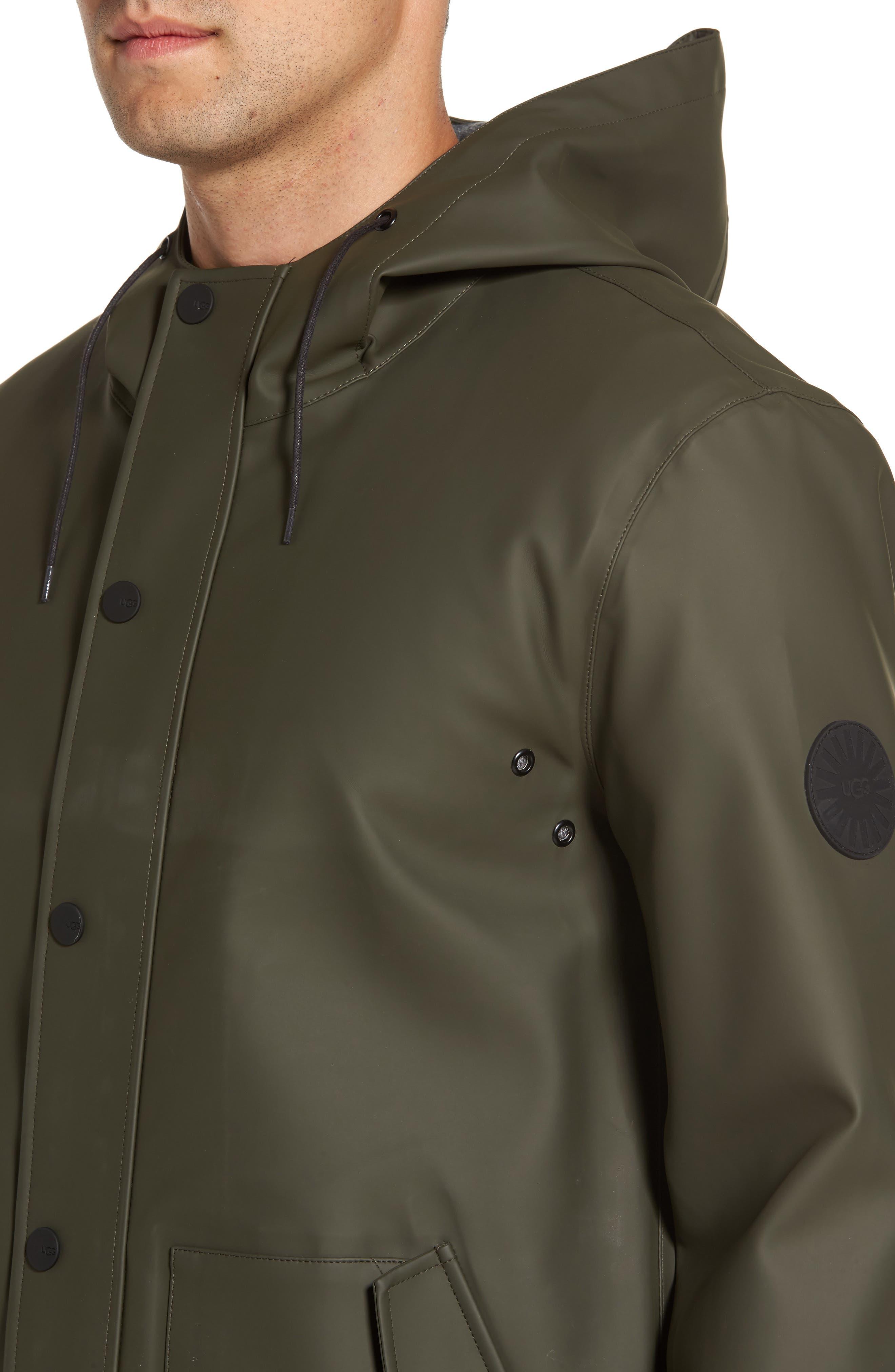 Hooded Raincoat,                             Alternate thumbnail 4, color,                             Olive