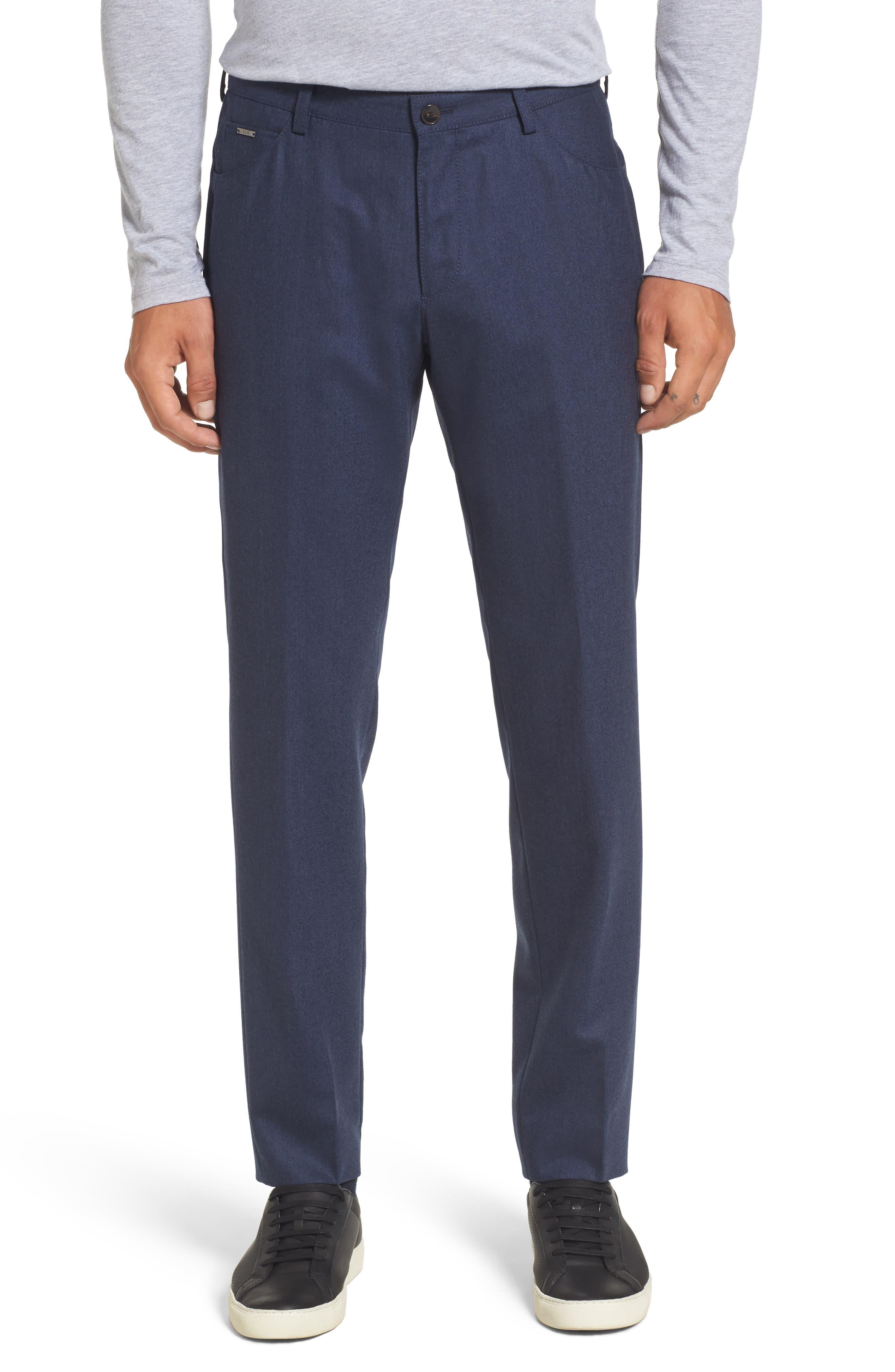 Gaetano Regular Fit Wool Trousers,                         Main,                         color, Medium Blue